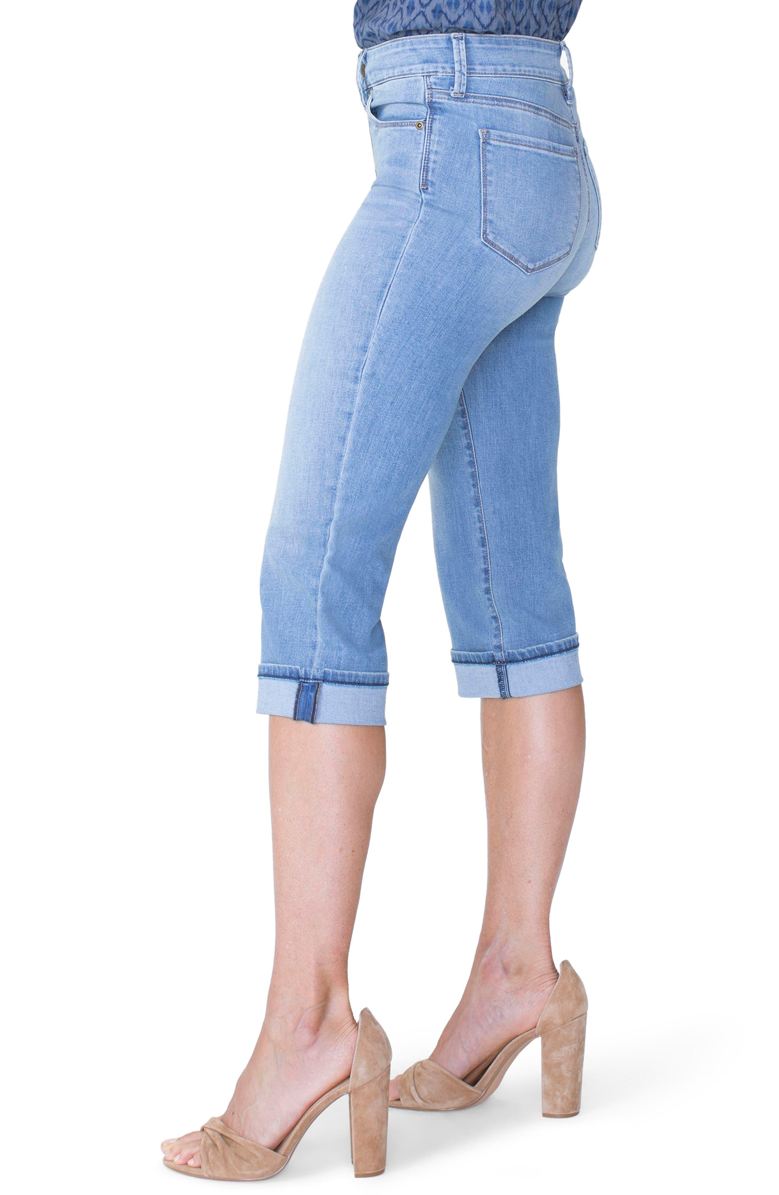 Marilyn High Waist Cuffed Stretch Crop Jeans,                             Alternate thumbnail 3, color,                             PAMPELONNE