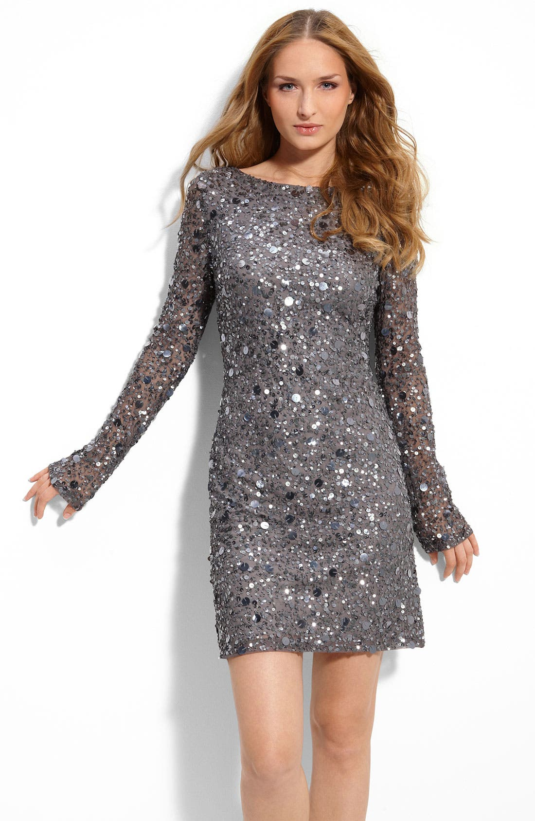 Sequined Mesh Sheath Dress,                             Main thumbnail 1, color,                             010