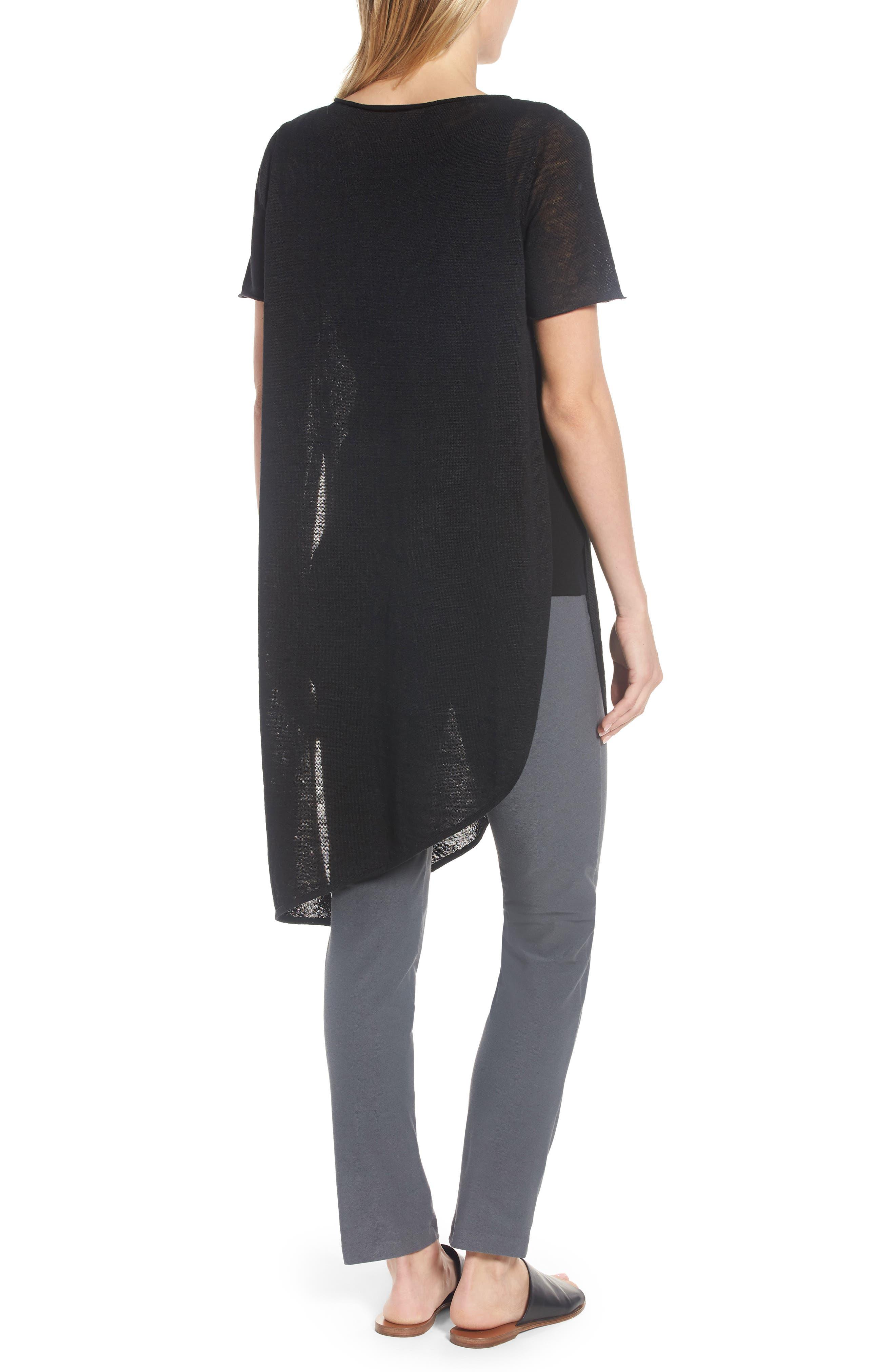 Asymmetrical Organic Linen Tunic,                             Alternate thumbnail 2, color,                             001