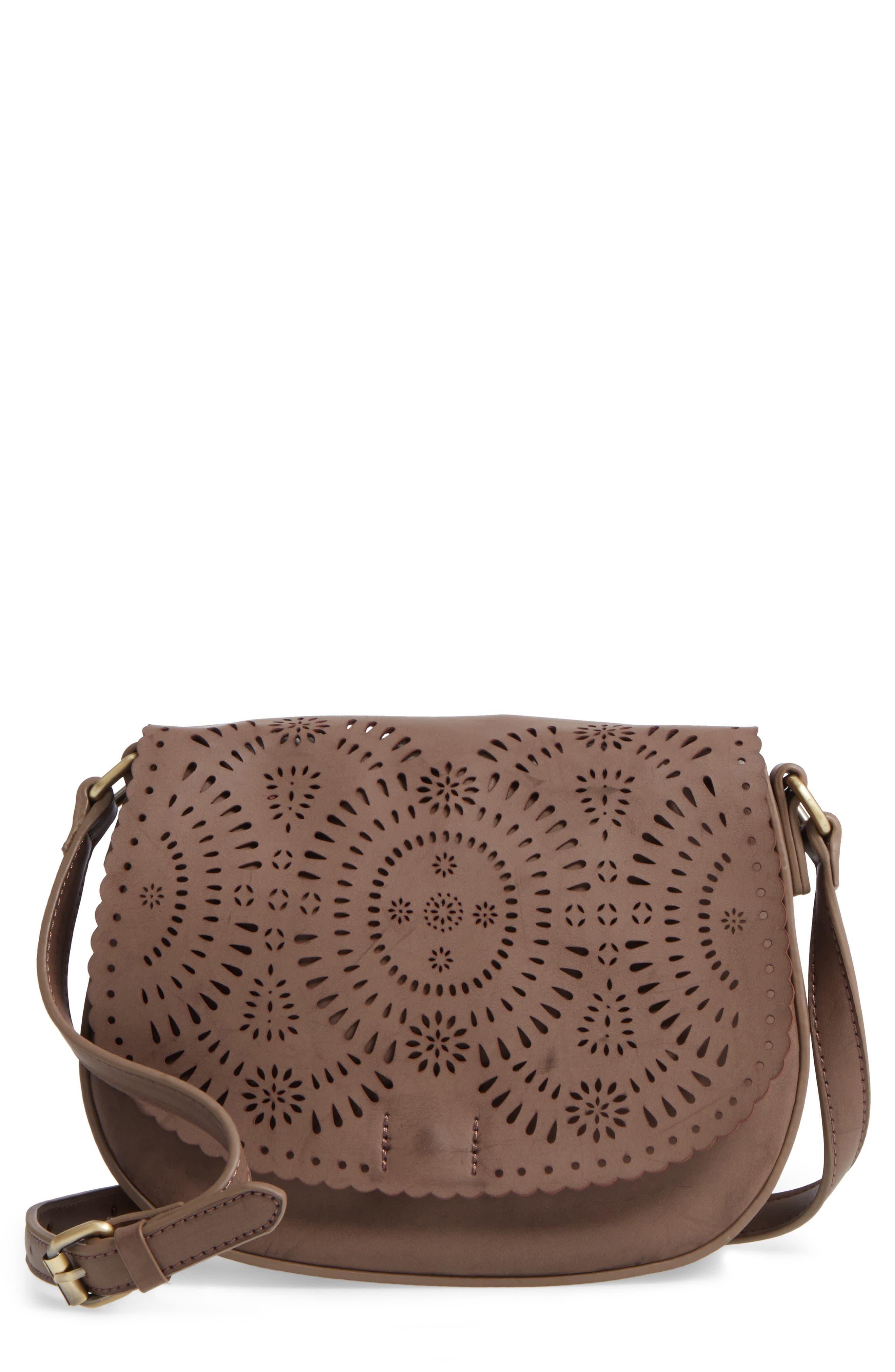 Dakota Faux Leather Saddle Bag,                             Main thumbnail 1, color,                             022