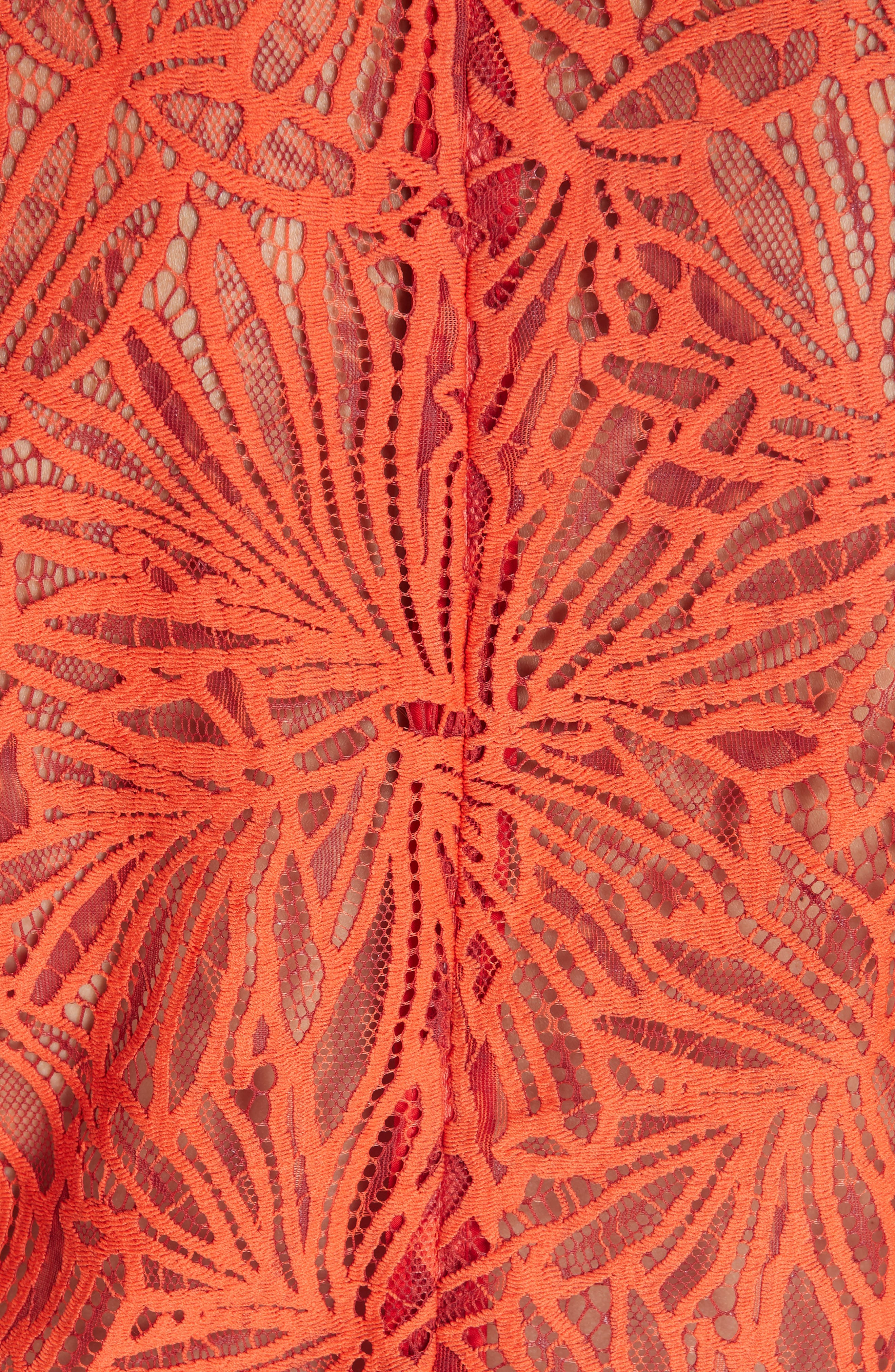 PROENZA SCHOULER,                             Scalloped Stretch Lace Top,                             Alternate thumbnail 5, color,                             TANGERINE