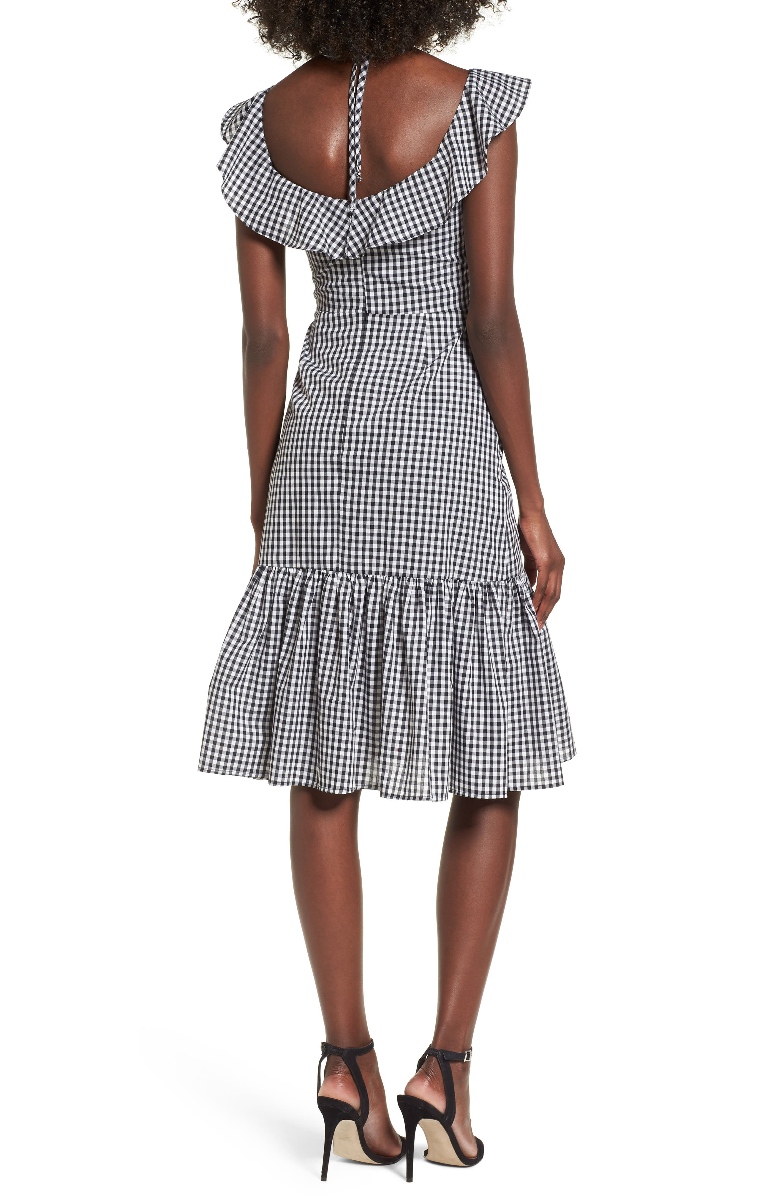 Zander Ruffle Midi Dress,                             Alternate thumbnail 2, color,                             001