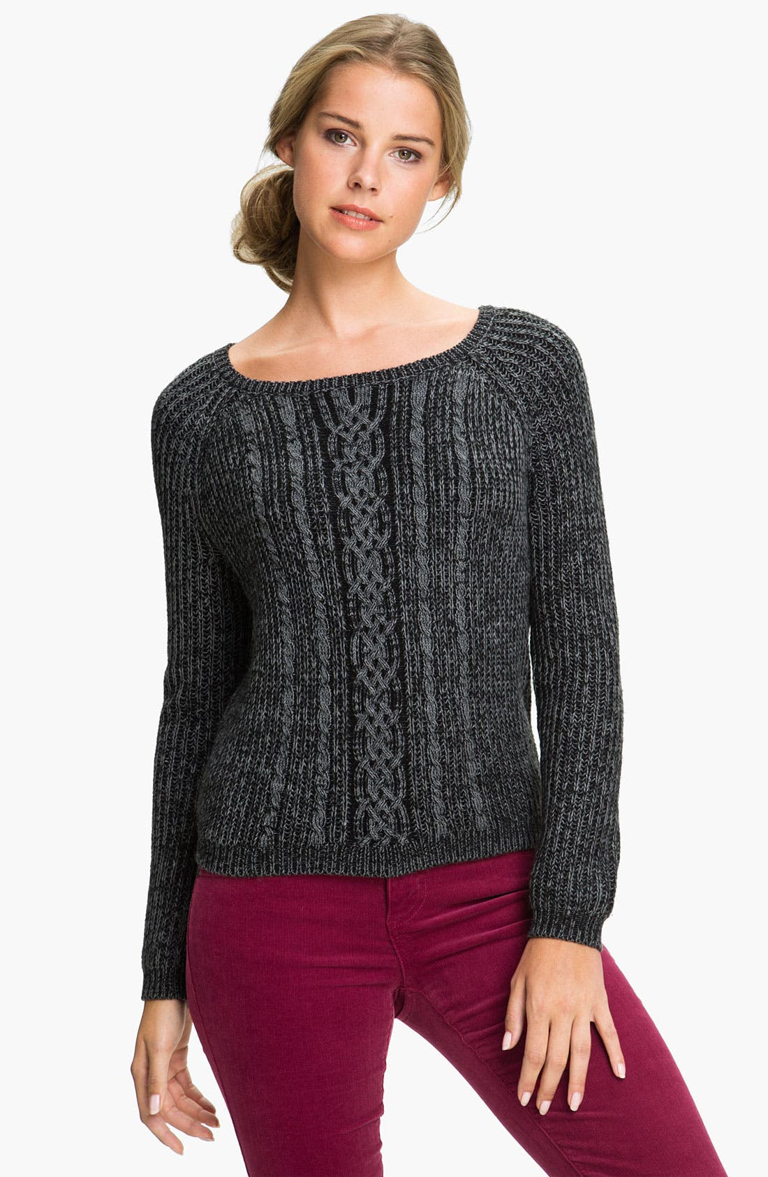 Cable Knit Sweater,                             Main thumbnail 1, color,                             001