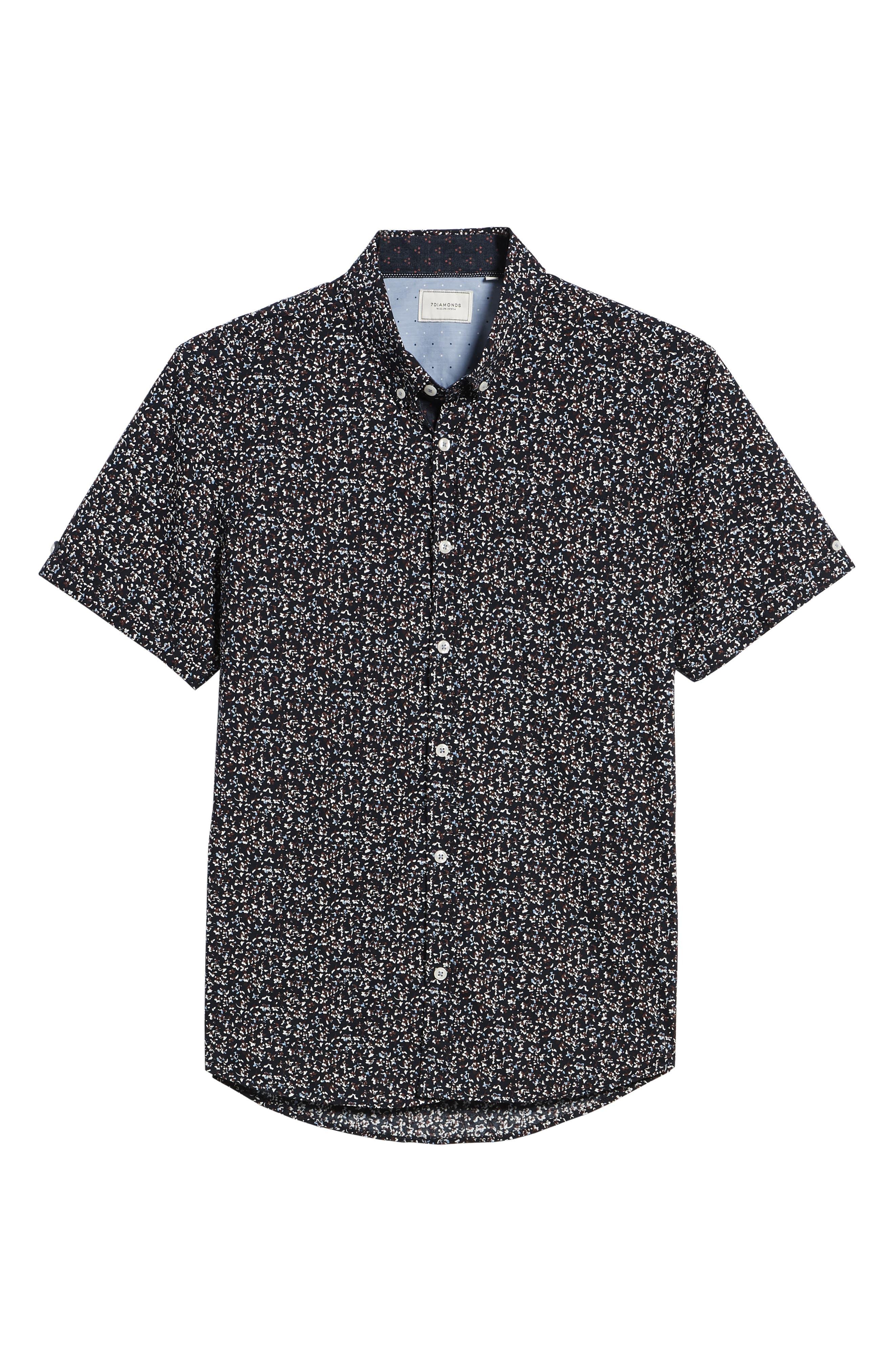 Dark Star Floral Print Sport Shirt,                             Alternate thumbnail 6, color,