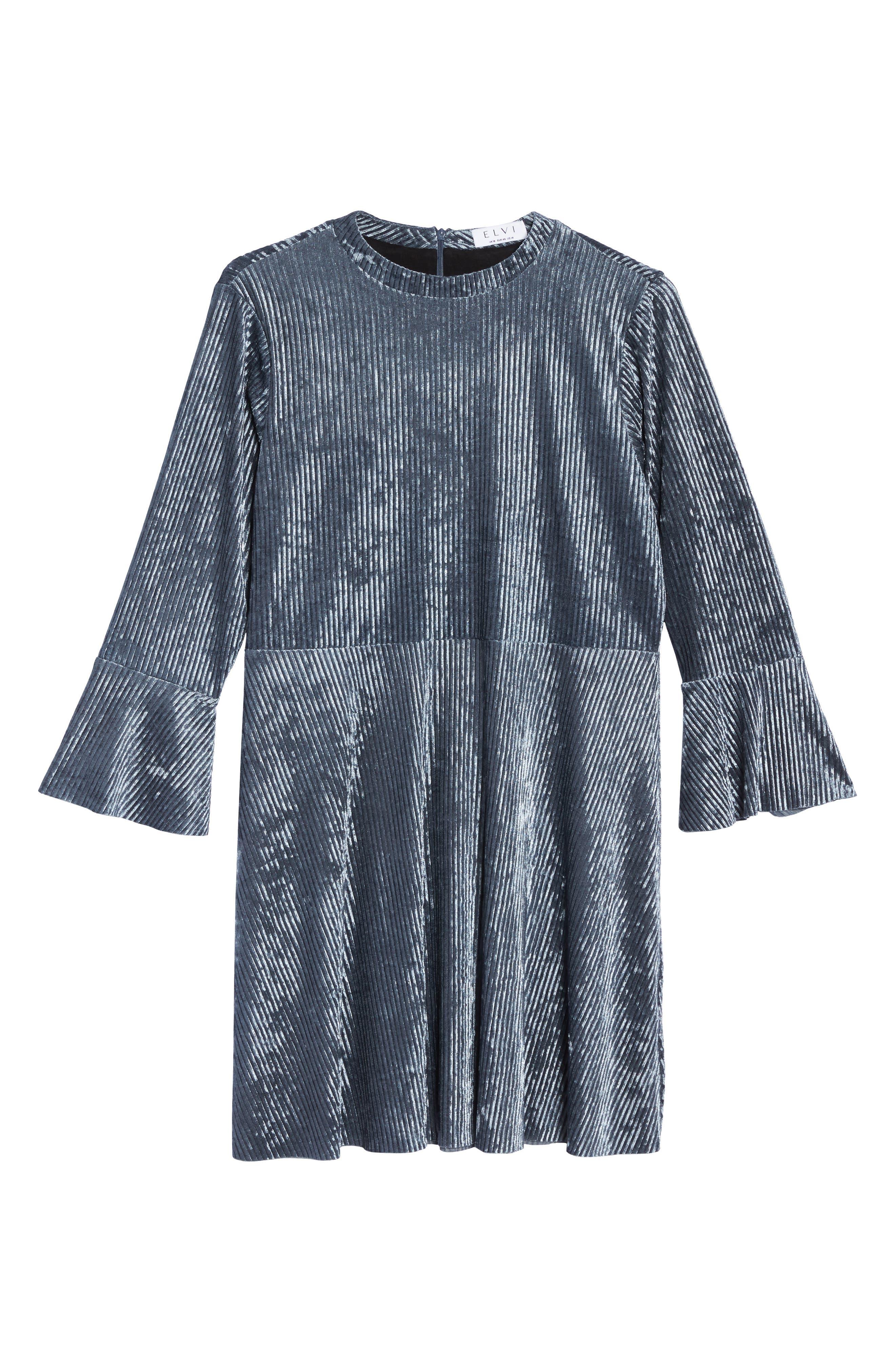 Plissé Velvet Bell Sleeve Dress,                             Alternate thumbnail 6, color,                             400