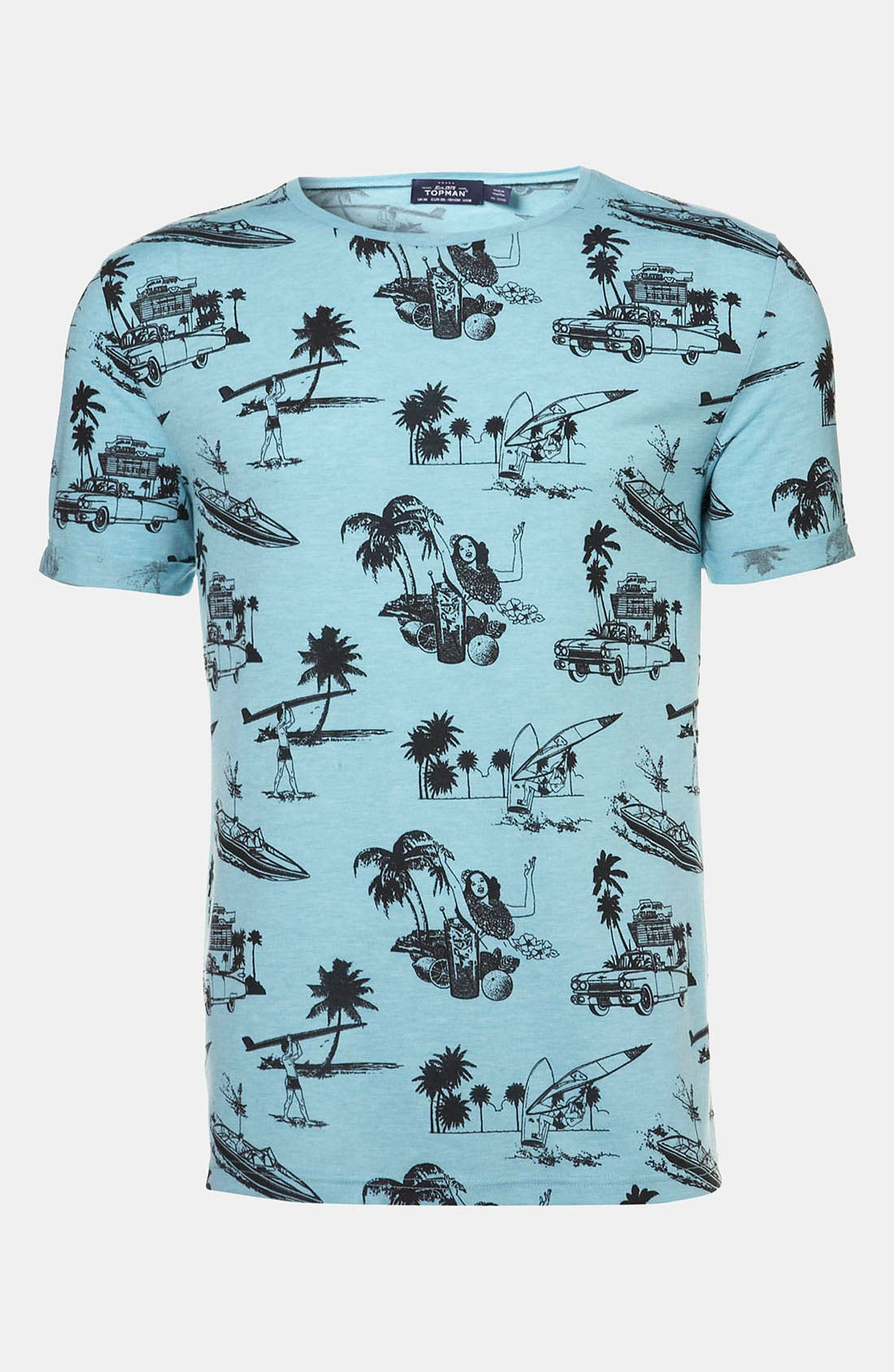 'Hawaii' All Over Print T-Shirt,                             Alternate thumbnail 5, color,