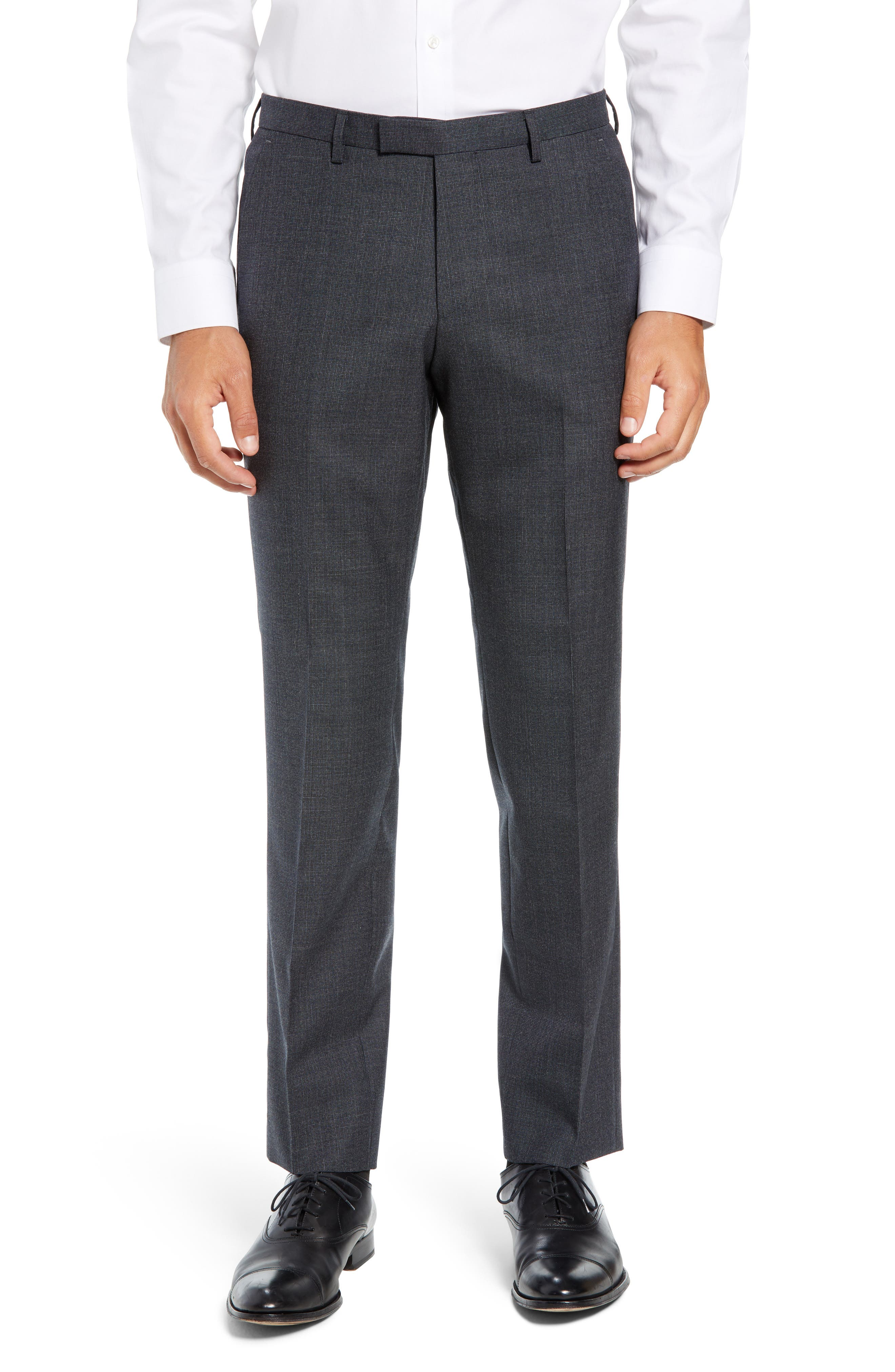 Leenon Flat Front Solid Wool Trousers,                         Main,                         color, OPEN BLUE