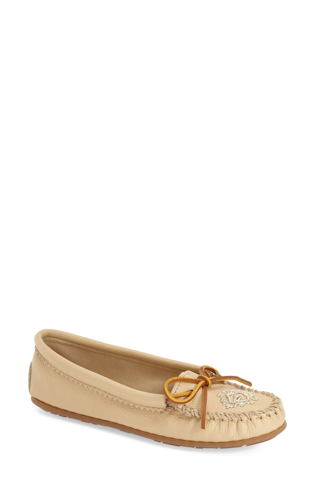 Beaded Moccasin,                         Main,                         color, CHAMPAGNE DEERSKIN LEATHER