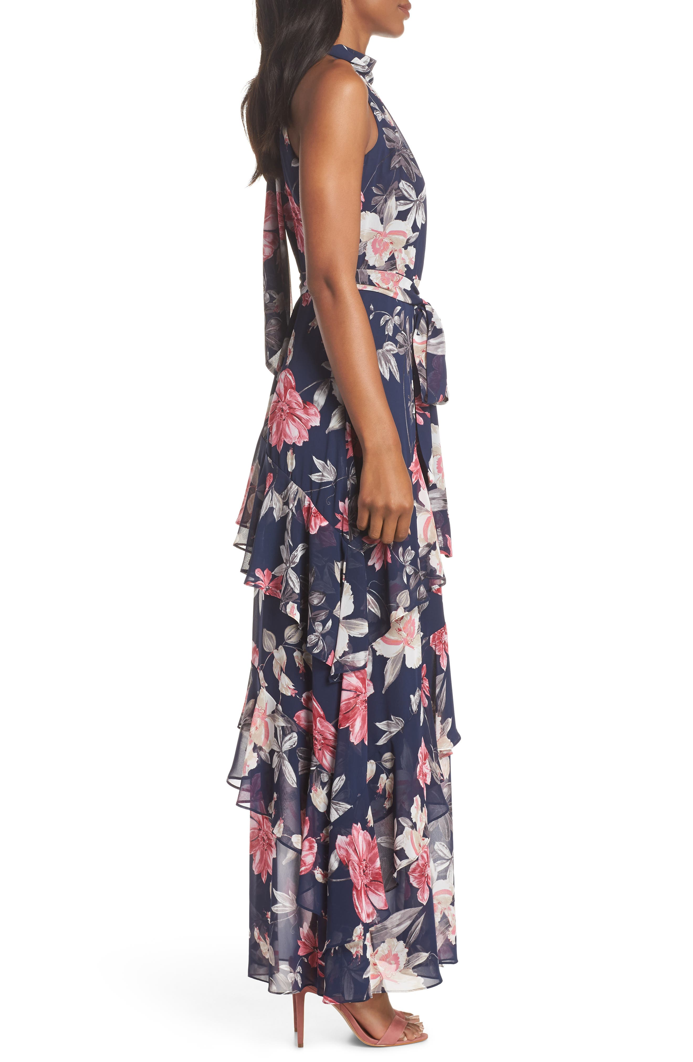 Halter Neck Ruffle Chiffon Maxi Dress,                             Alternate thumbnail 3, color,                             410