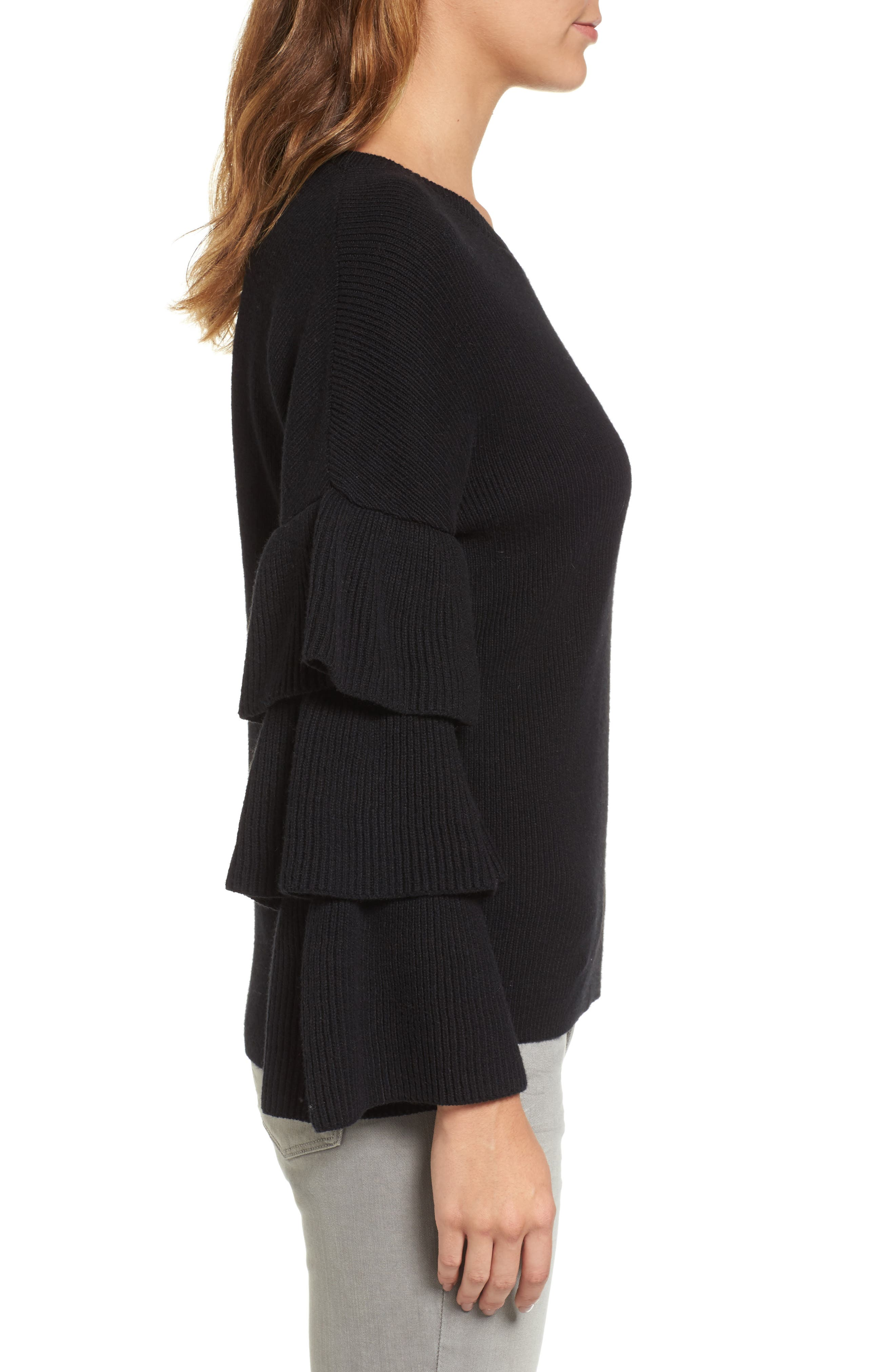 Ruffle Sleeve Sweater,                             Alternate thumbnail 3, color,                             001