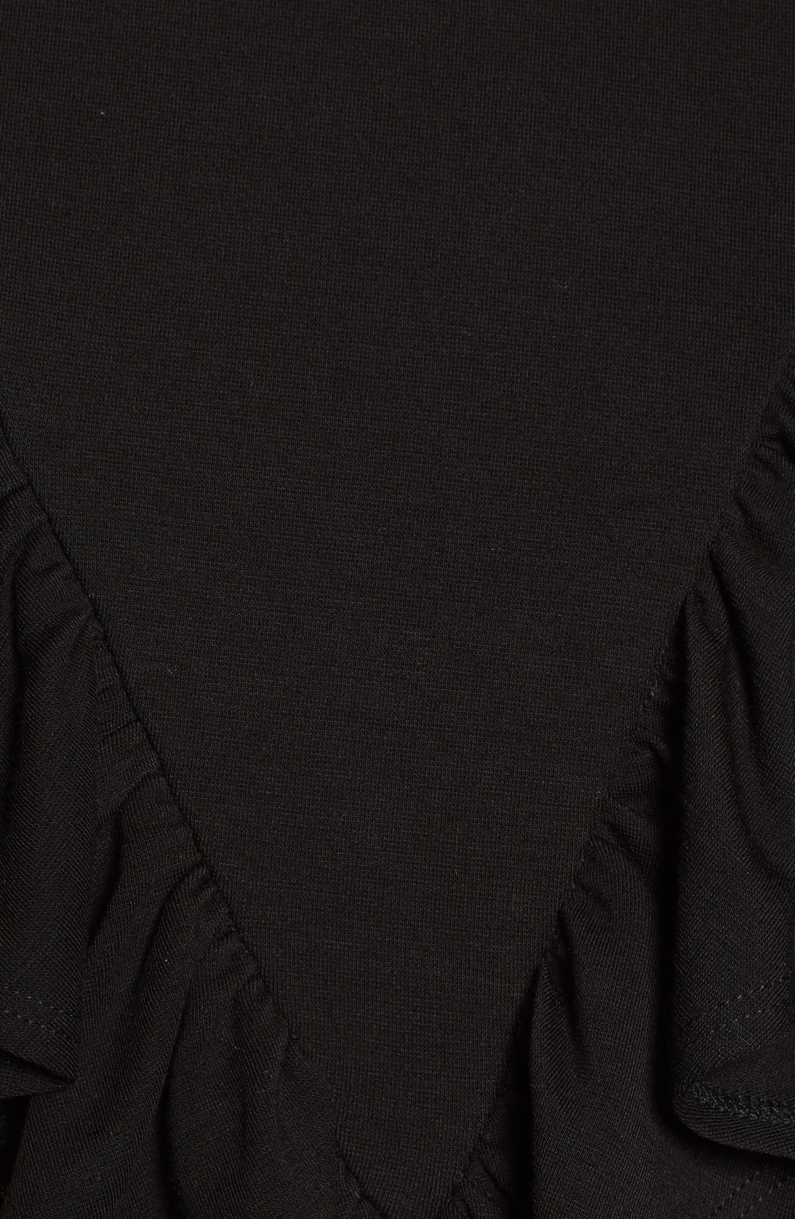 Ruffle Ponte Sweater,                             Alternate thumbnail 5, color,                             001