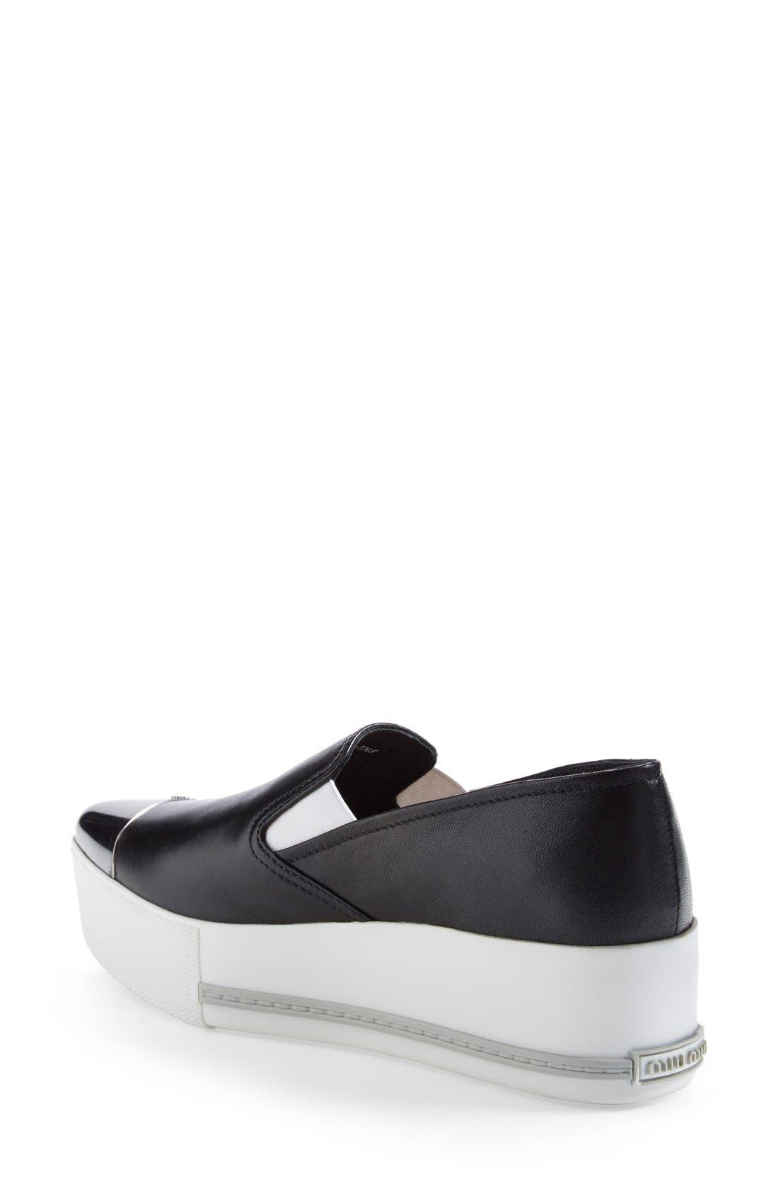 Metal Cap Toe Platform Sneaker,                             Alternate thumbnail 2, color,                             001