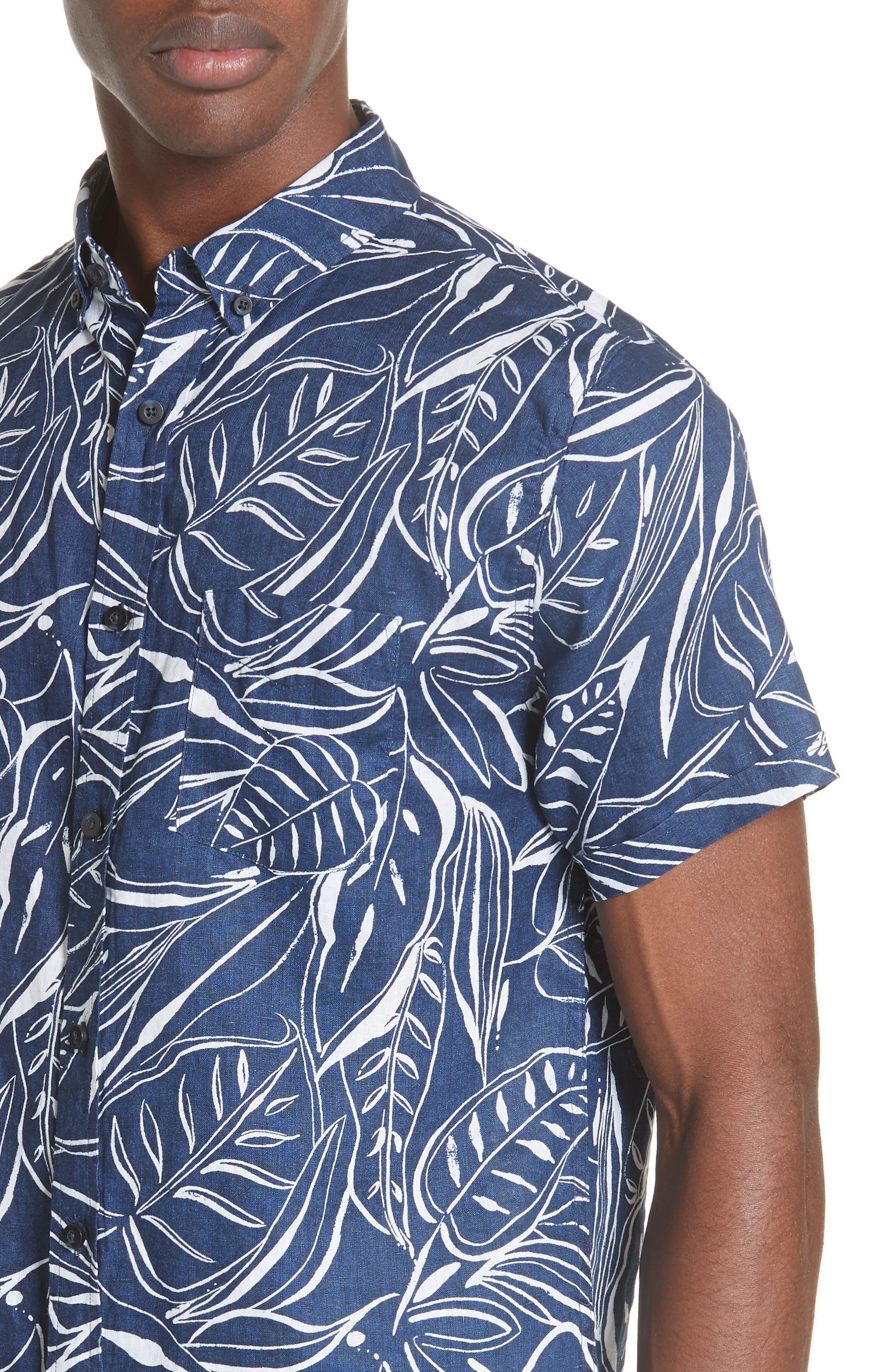 Jack Palm Print Linen Shirt,                             Alternate thumbnail 4, color,                             DEEP NAVY WHITE