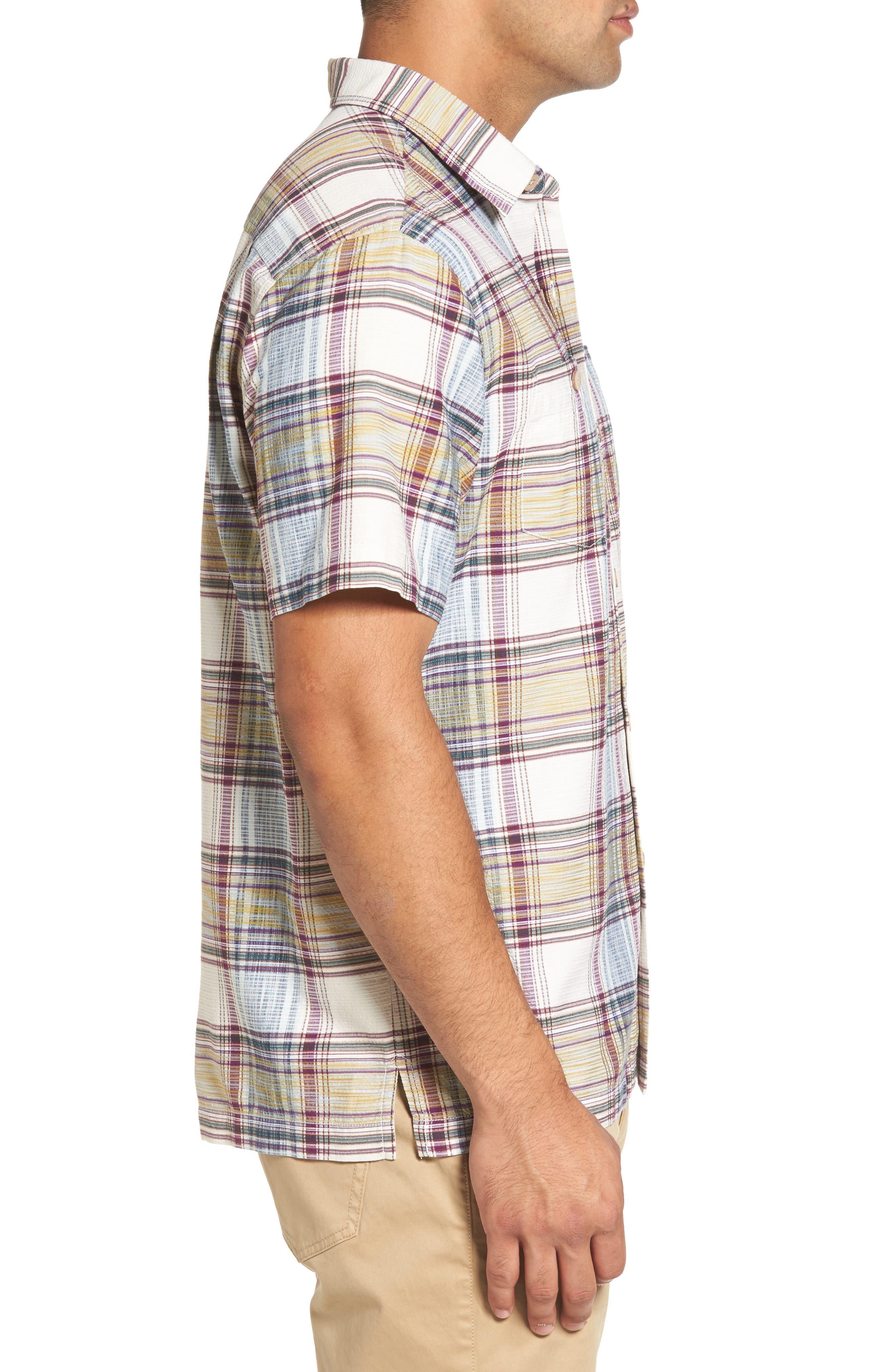 Lazlo Plaid Standard Fit Silk & Cotton Camp Shirt,                             Alternate thumbnail 3, color,                             100