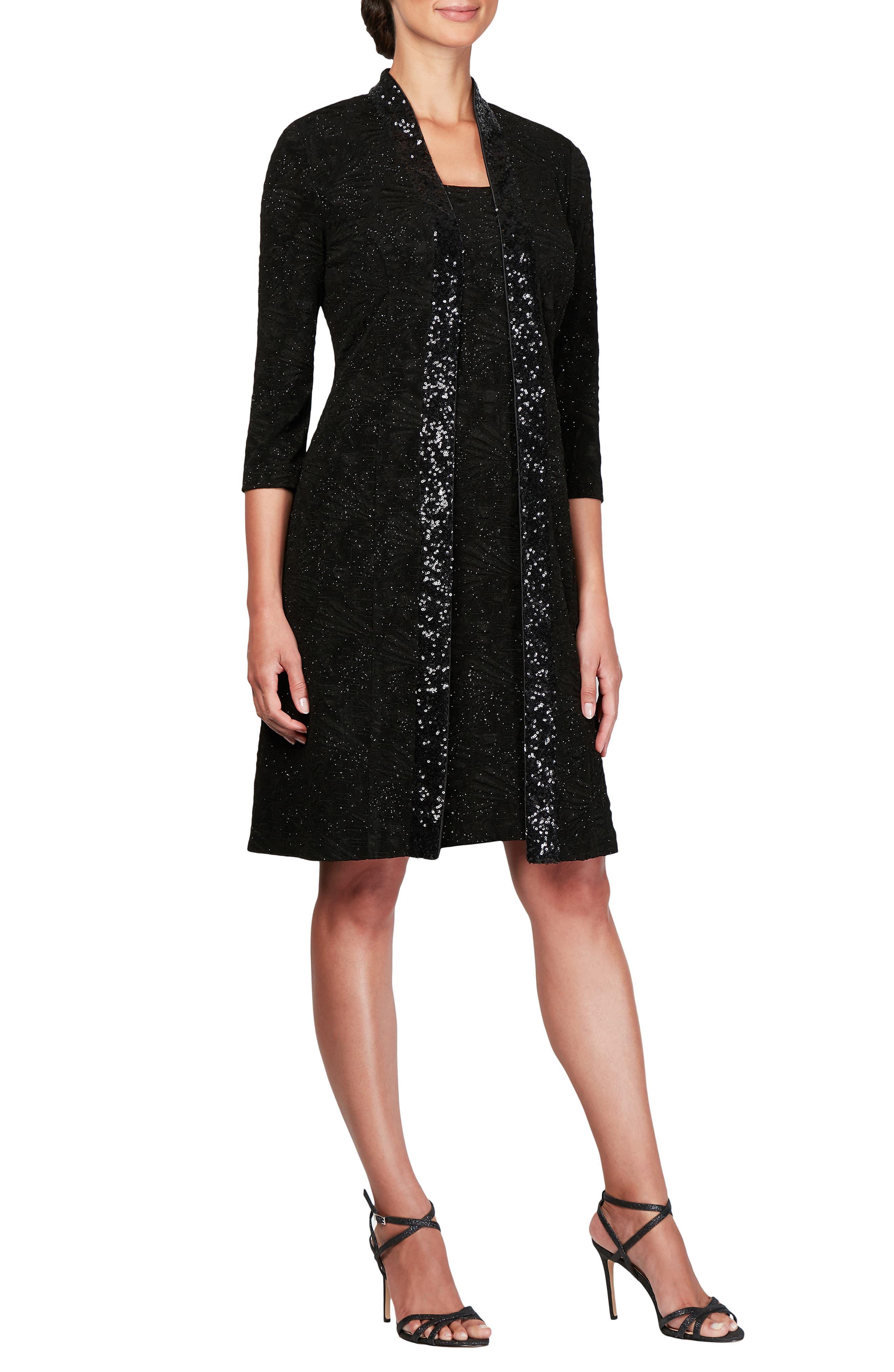 Sequin Shift Dress with Jacket, Main, color, BLACK