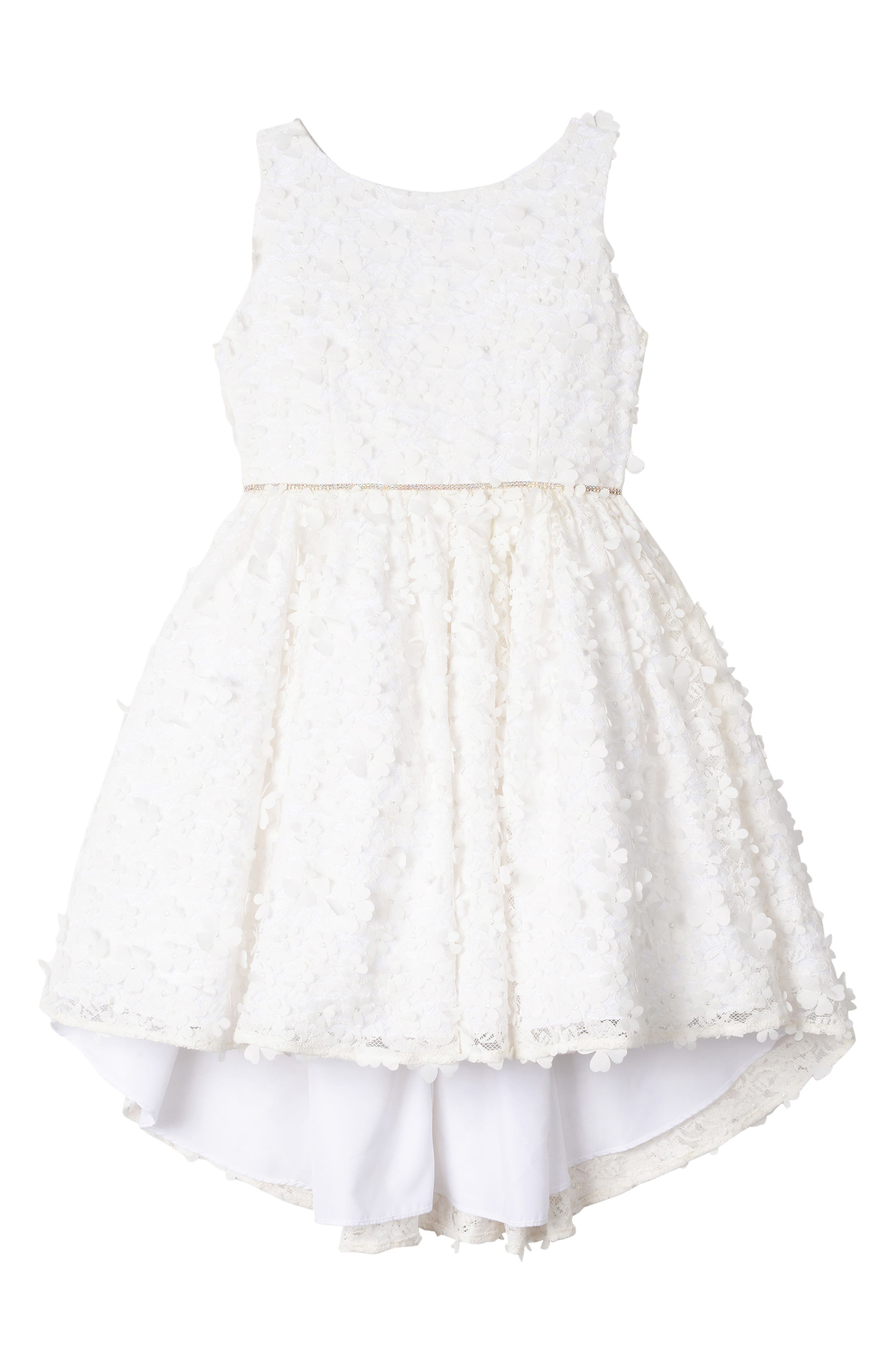 BADGLEY MISCHKA COLLECTION,                             Badgley Mischka 3D Flower High/Low Lace Dress,                             Main thumbnail 1, color,                             WHITE