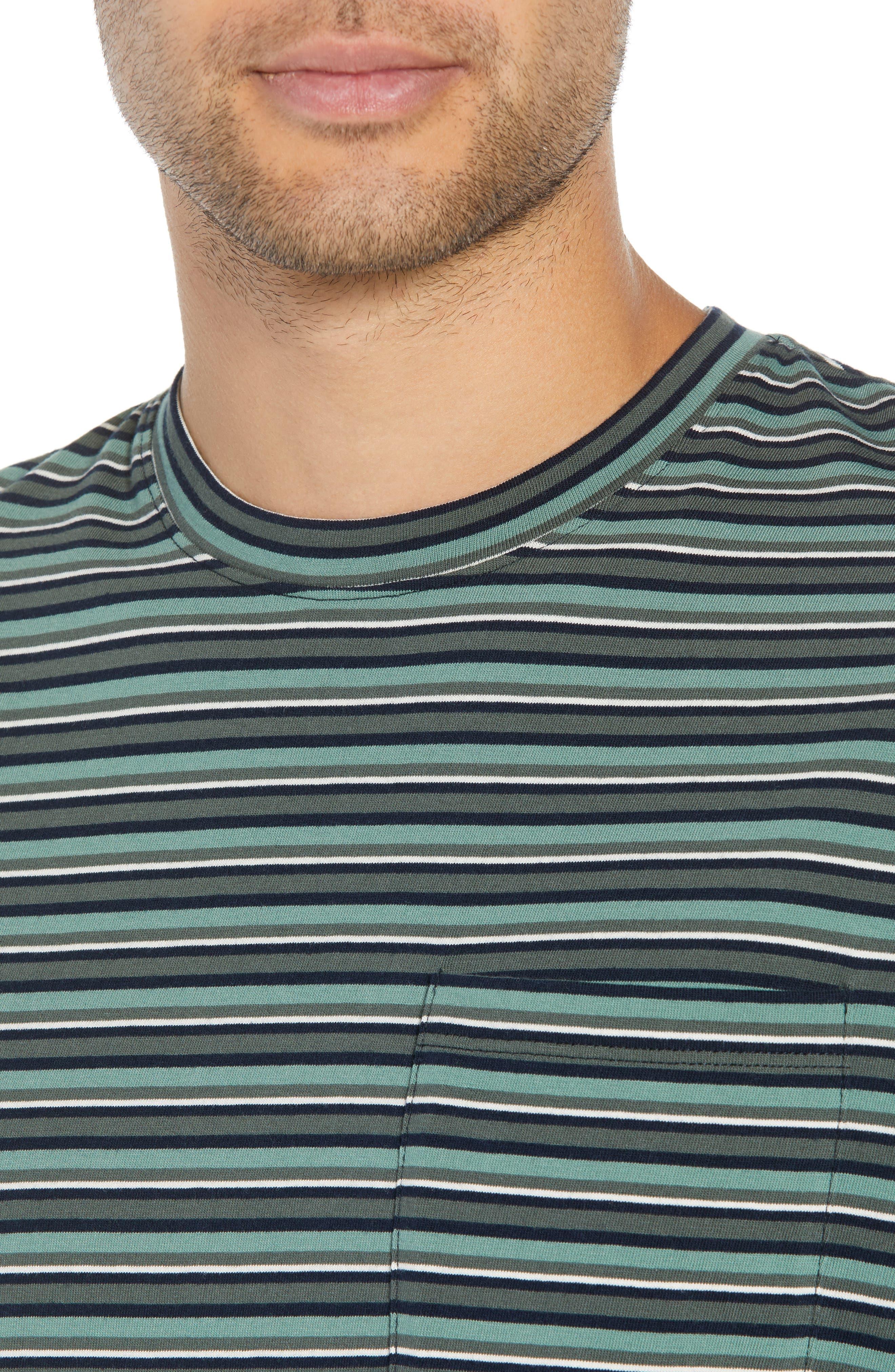 Regular Fit Multistripe Pocket T-Shirt,                             Alternate thumbnail 4, color,                             URBAN GREEN/ SPEARMINT