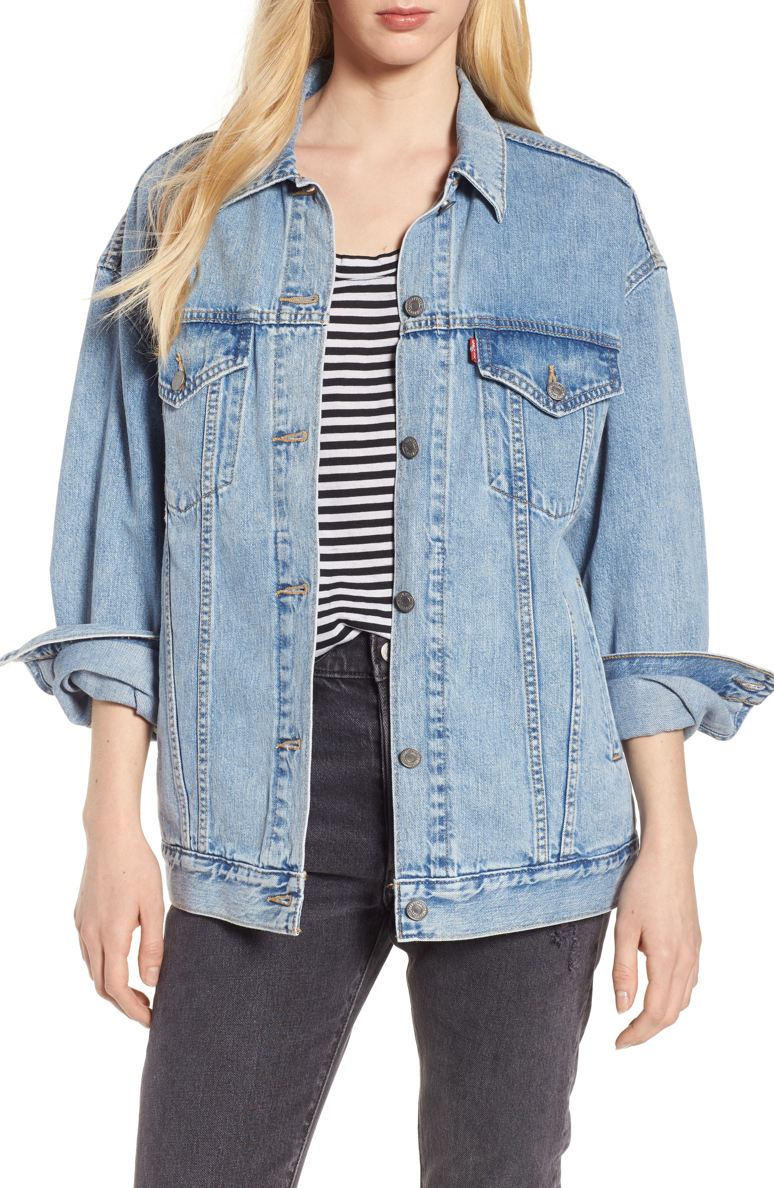 Baggy Trucker Denim Jacket,                         Main,                         color, TRUE LIFE