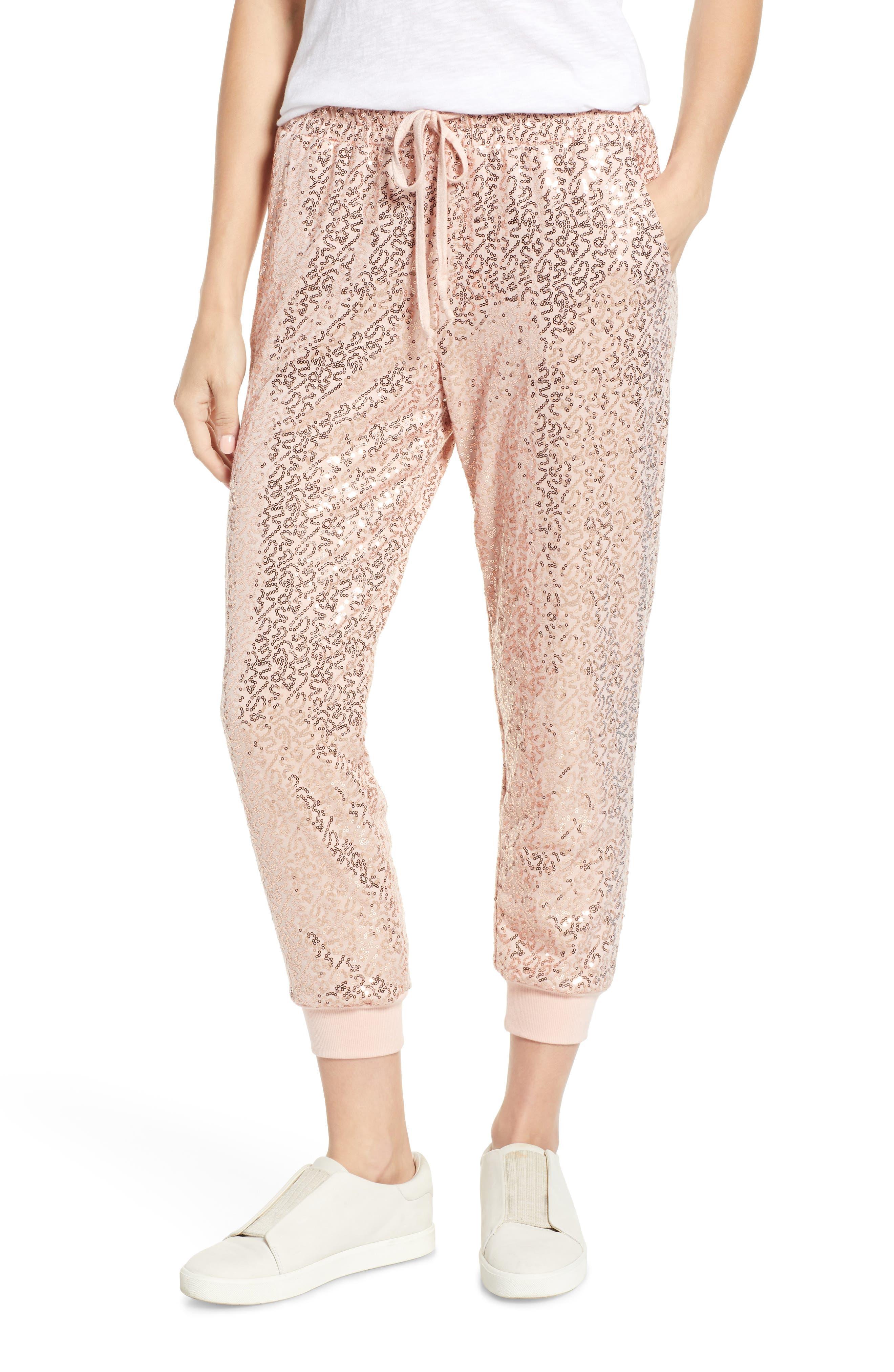 x Glam Squad Ashley Sequin Jogger Pants, Main, color, ROSE GOLD