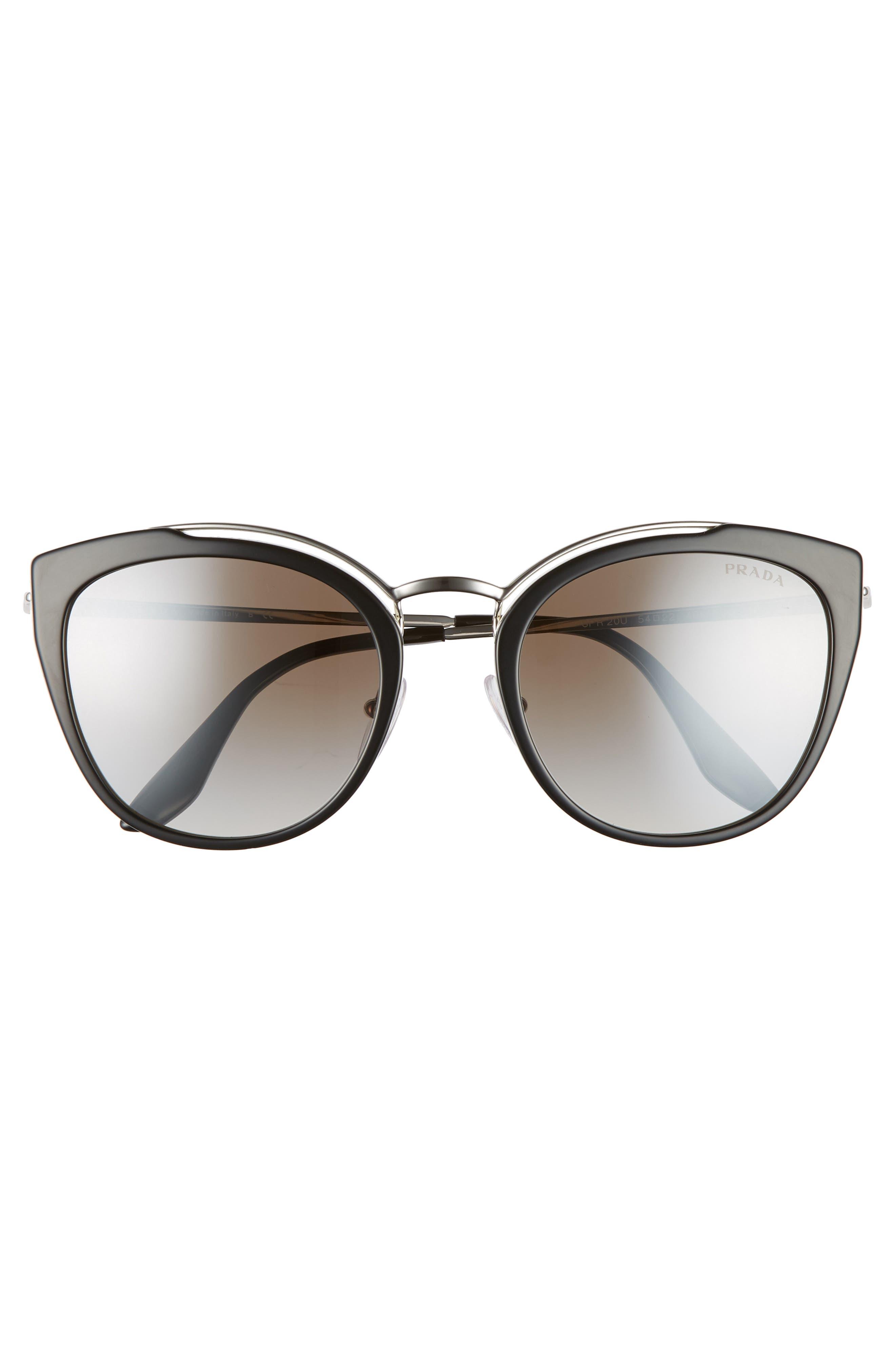 PRADA,                             54mm Gradient Cat Eye Sunglasses,                             Alternate thumbnail 3, color,                             BLACK/ SILVER GRADIENT MIRROR