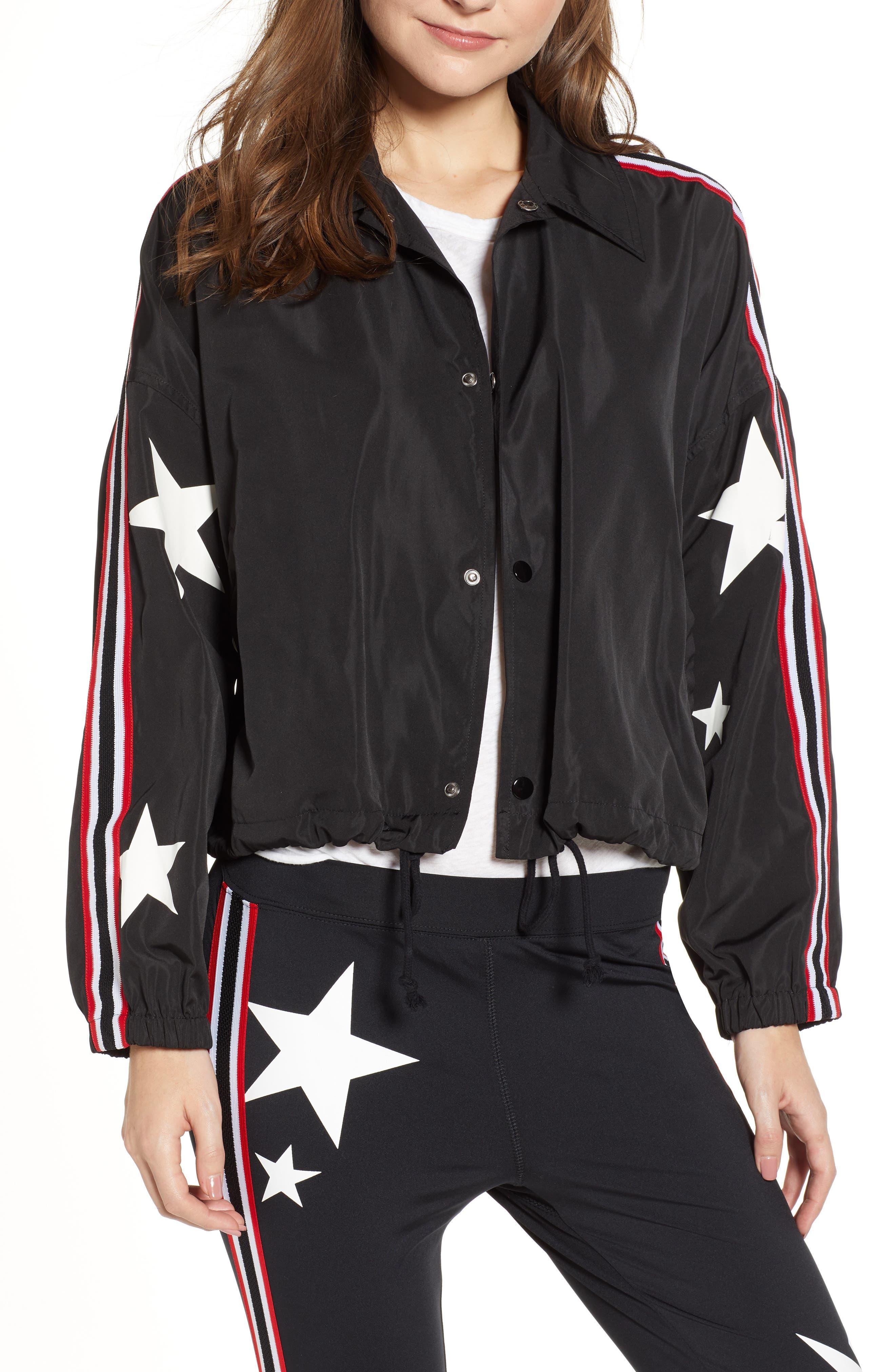 Star Drawstring Track Jacket,                             Main thumbnail 1, color,                             BLACK