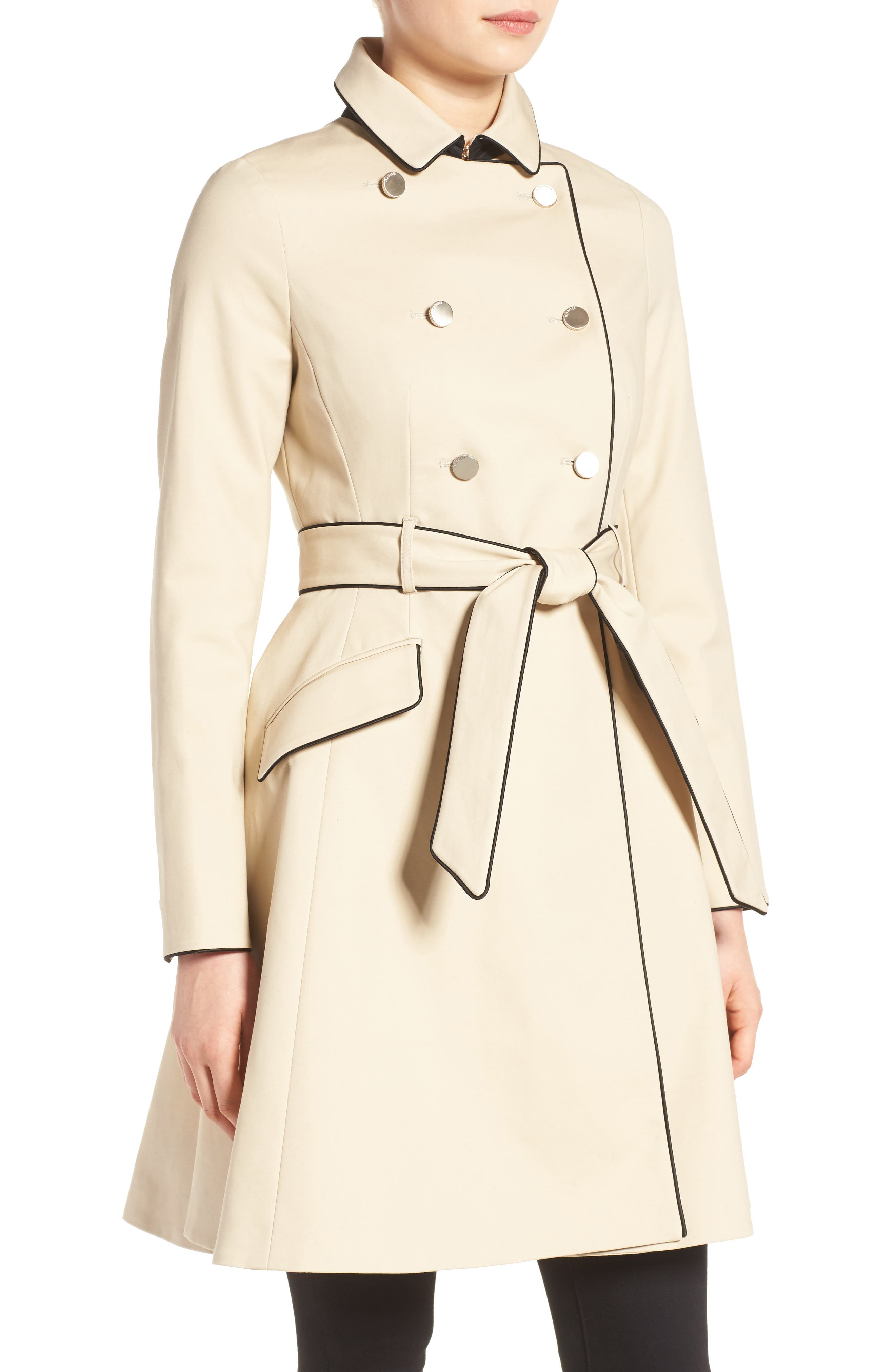 Piped Belted A-Line Macintosh Coat,                             Alternate thumbnail 4, color,