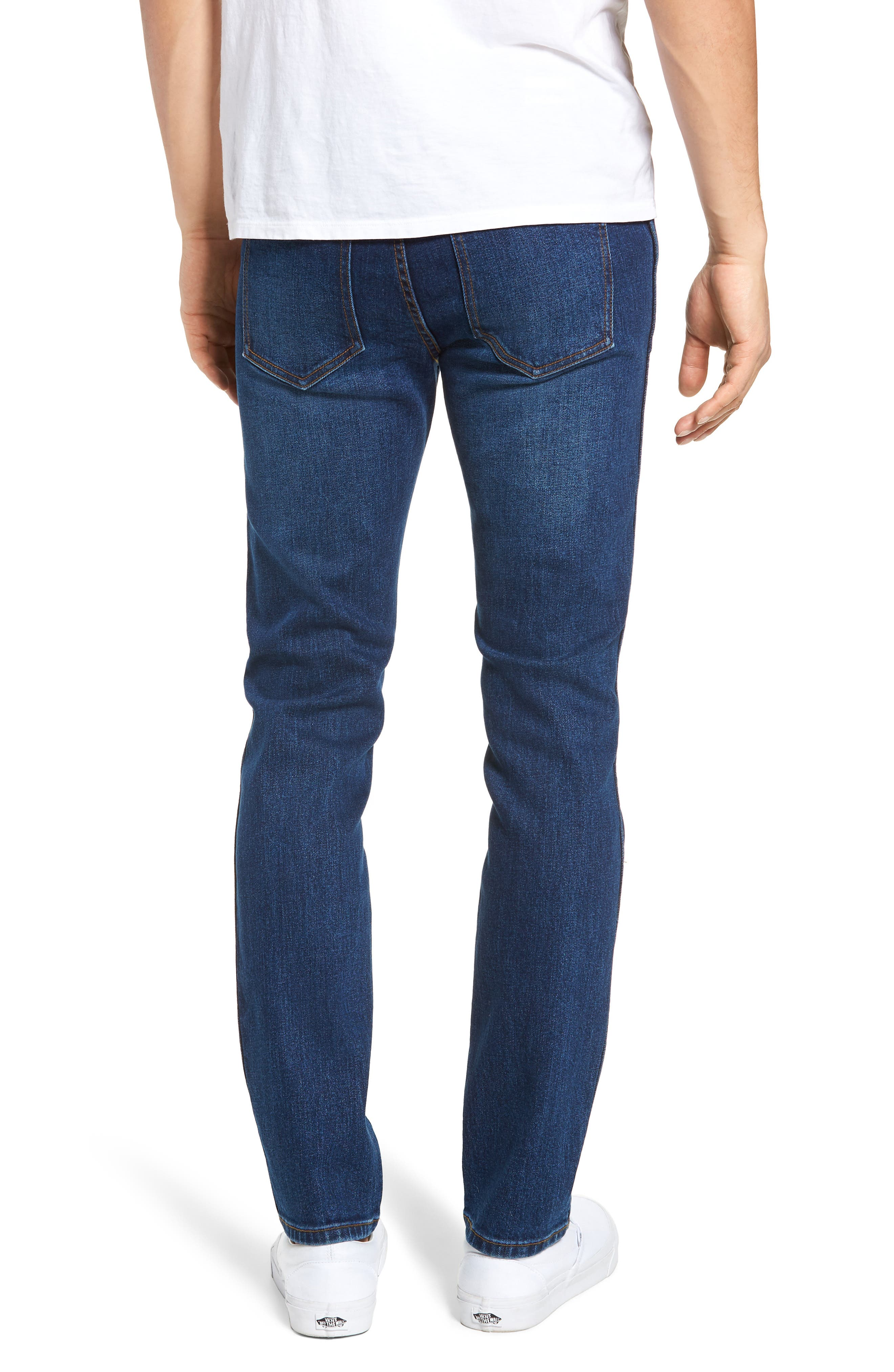 Snap Skinny Fit Jeans,                             Alternate thumbnail 2, color,                             DARK SHADED BLUE