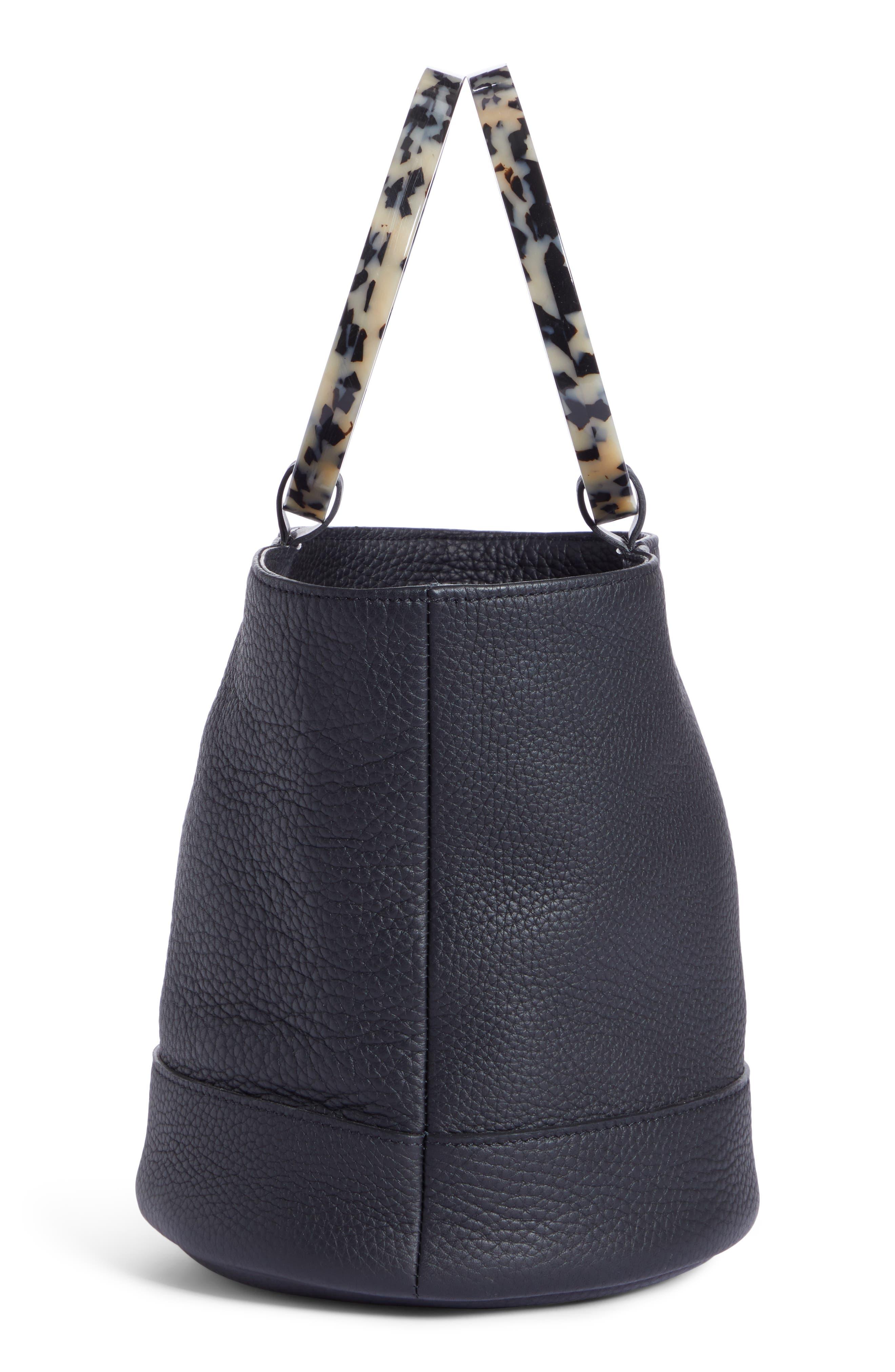 Bonsai 20 Pebbled Leather Bucket Bag,                             Alternate thumbnail 5, color,                             001