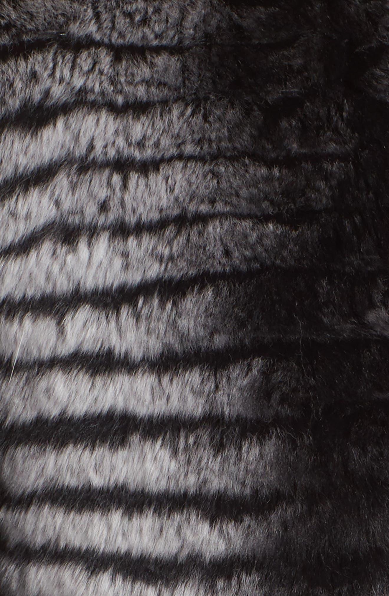 Reversible Genuine Rabbit Fur & Down Coat,                             Alternate thumbnail 5, color,                             BLACK