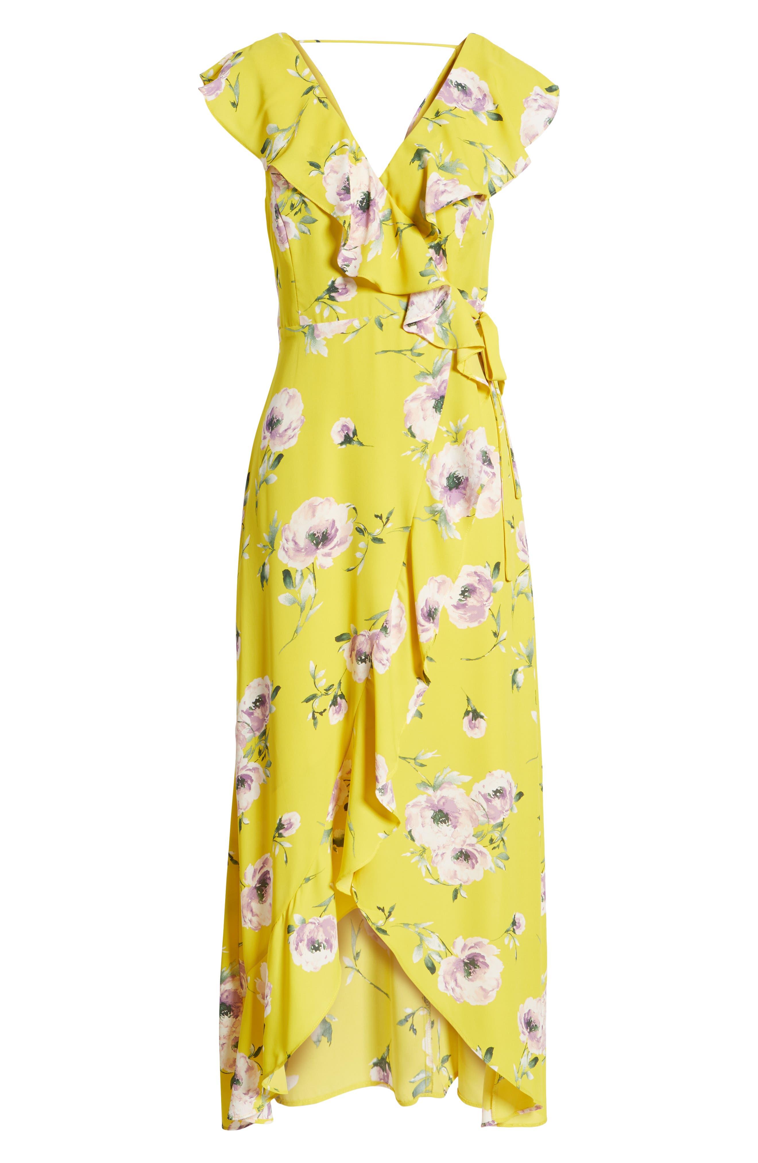 Ruffle Wrap Maxi Dress,                             Alternate thumbnail 7, color,                             YELLOW TEA BLOOM FLORAL