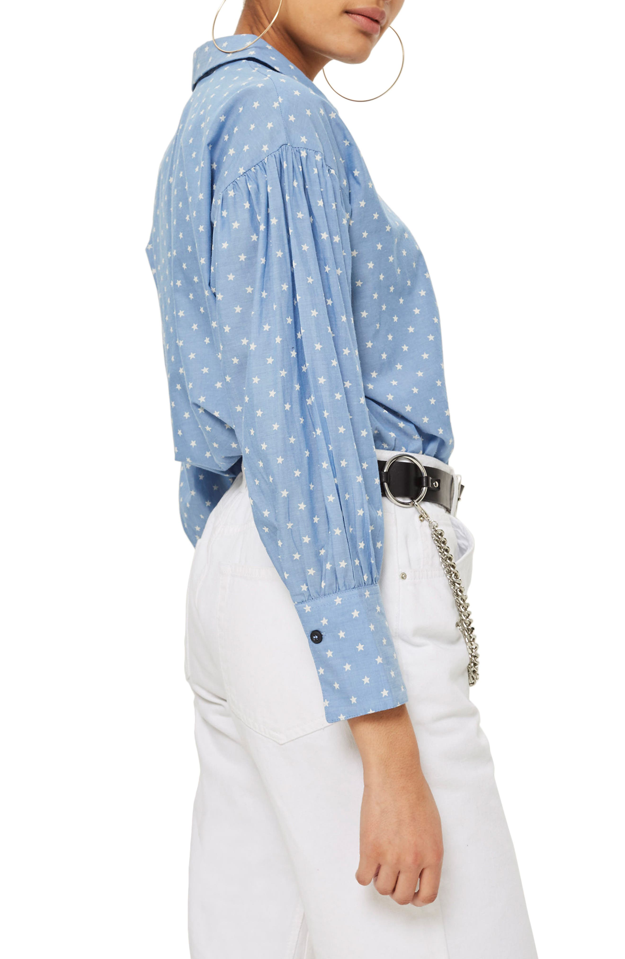 Star Print Chambray Shirt,                             Alternate thumbnail 2, color,                             400