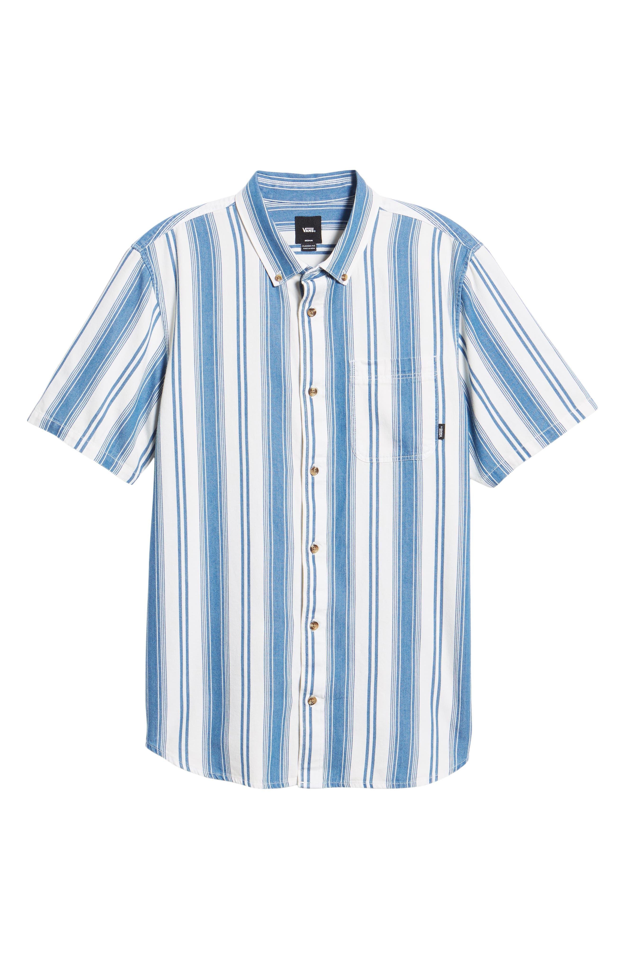 Linden Striped Woven Shirt,                             Alternate thumbnail 5, color,                             INDIGO