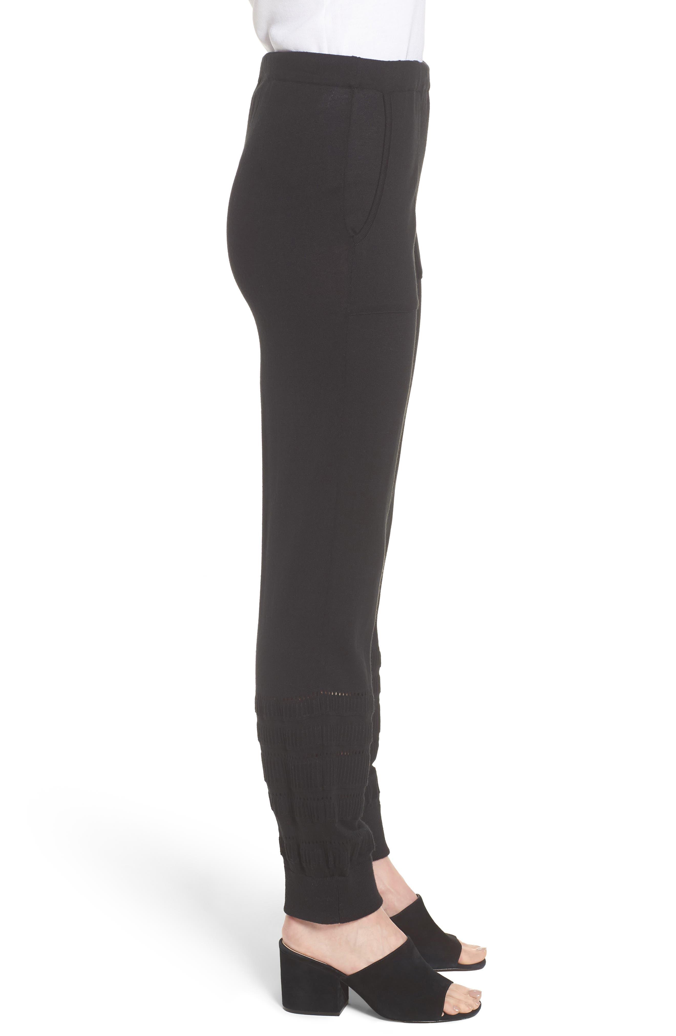 Knit Ankle Pants,                             Alternate thumbnail 3, color,                             BLACK