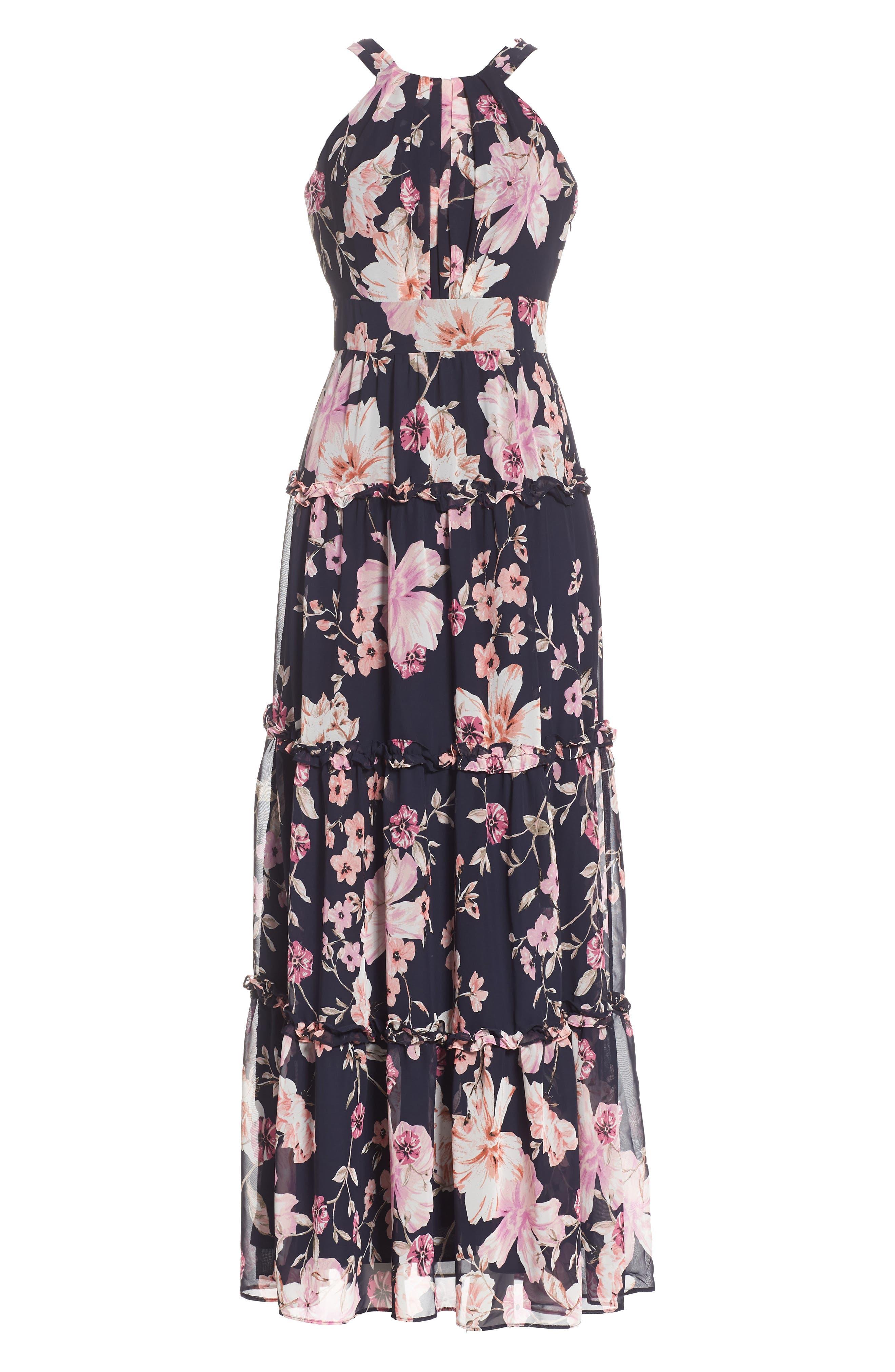 Floral Halter Maxi Dress,                             Alternate thumbnail 6, color,                             654