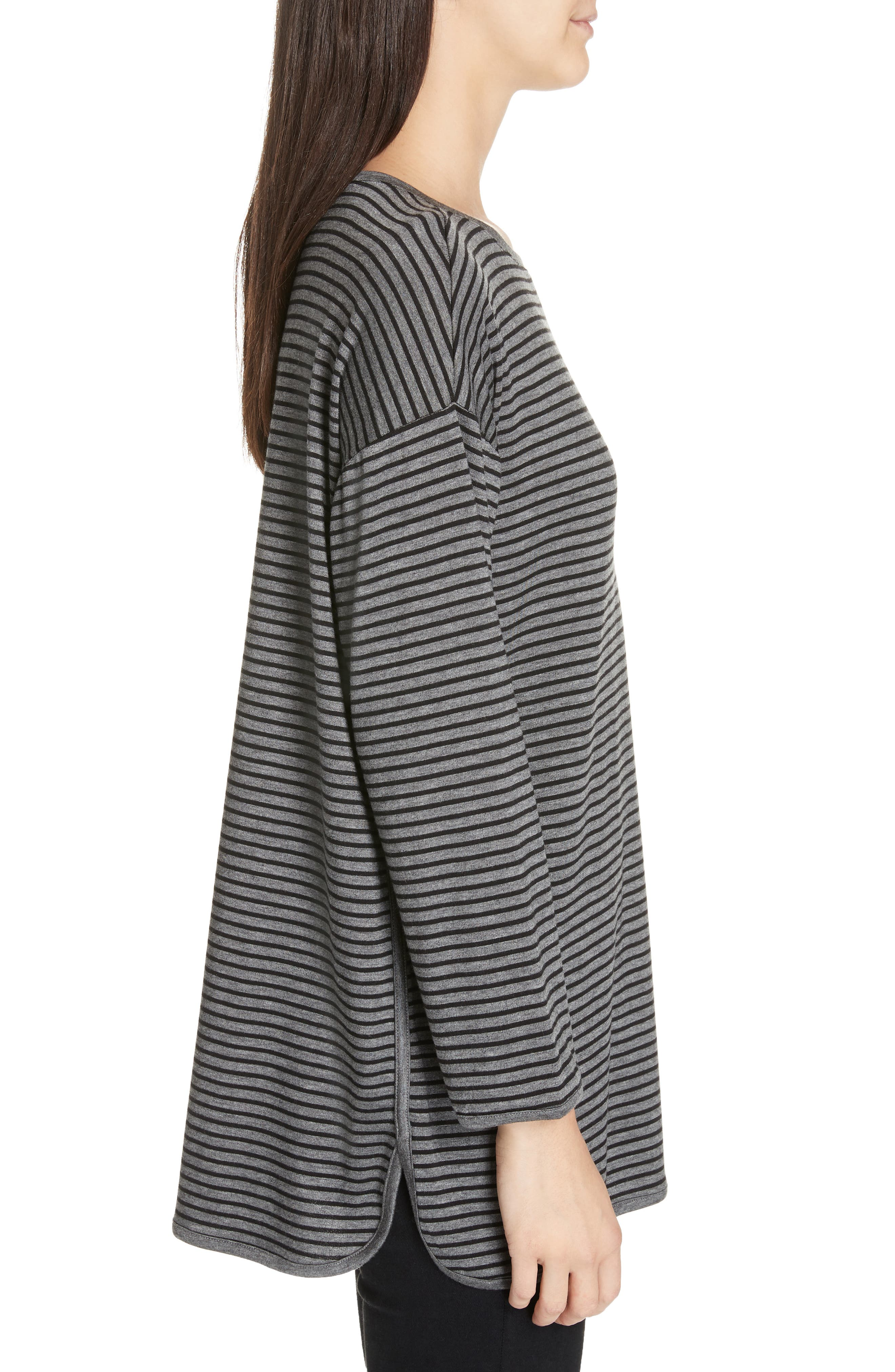 EILEEN FISHER, Stripe Terry Tunic, Alternate thumbnail 3, color, 091
