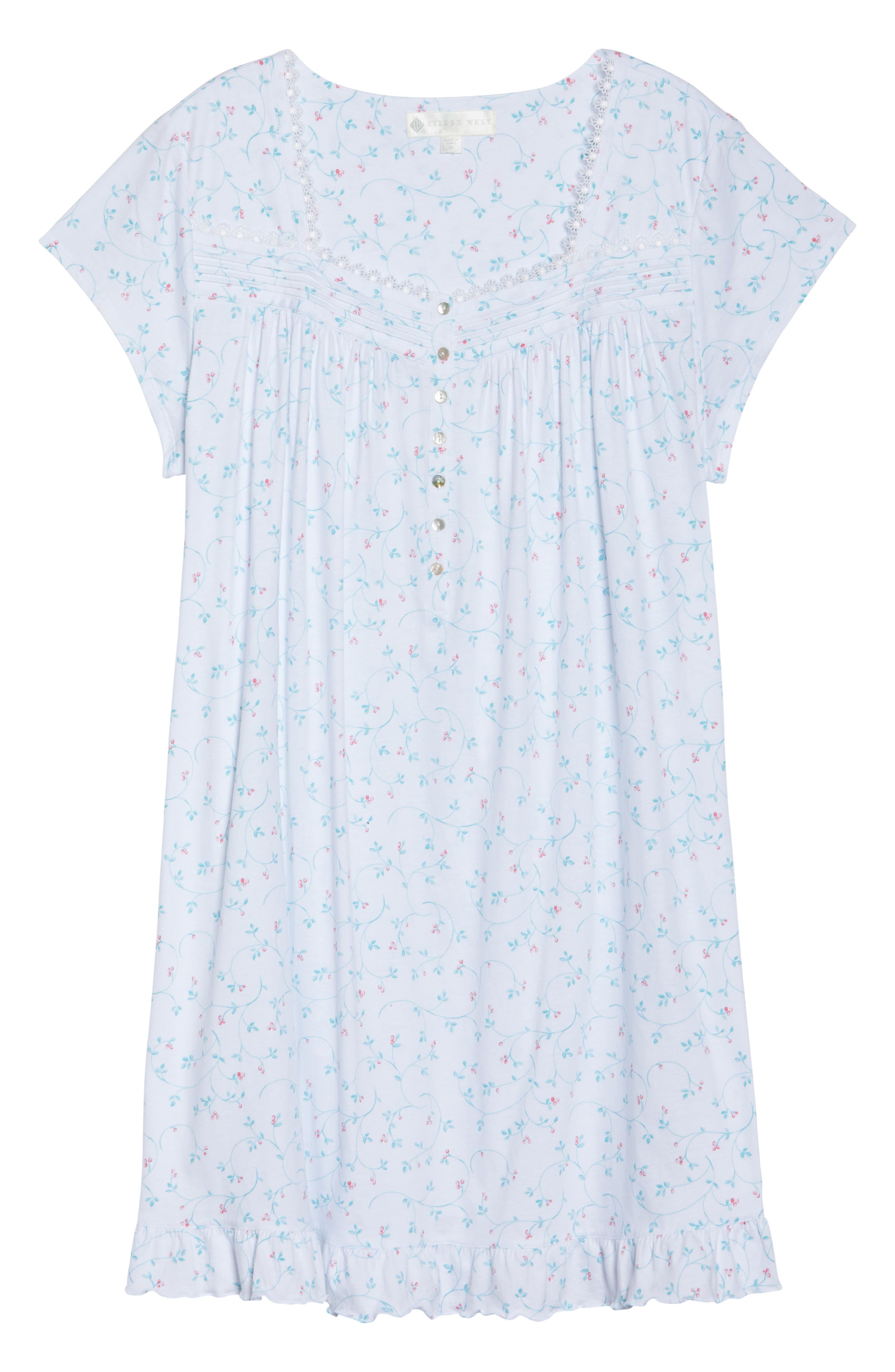Cotton Jersey Short Nightgown,                             Alternate thumbnail 6, color,                             100