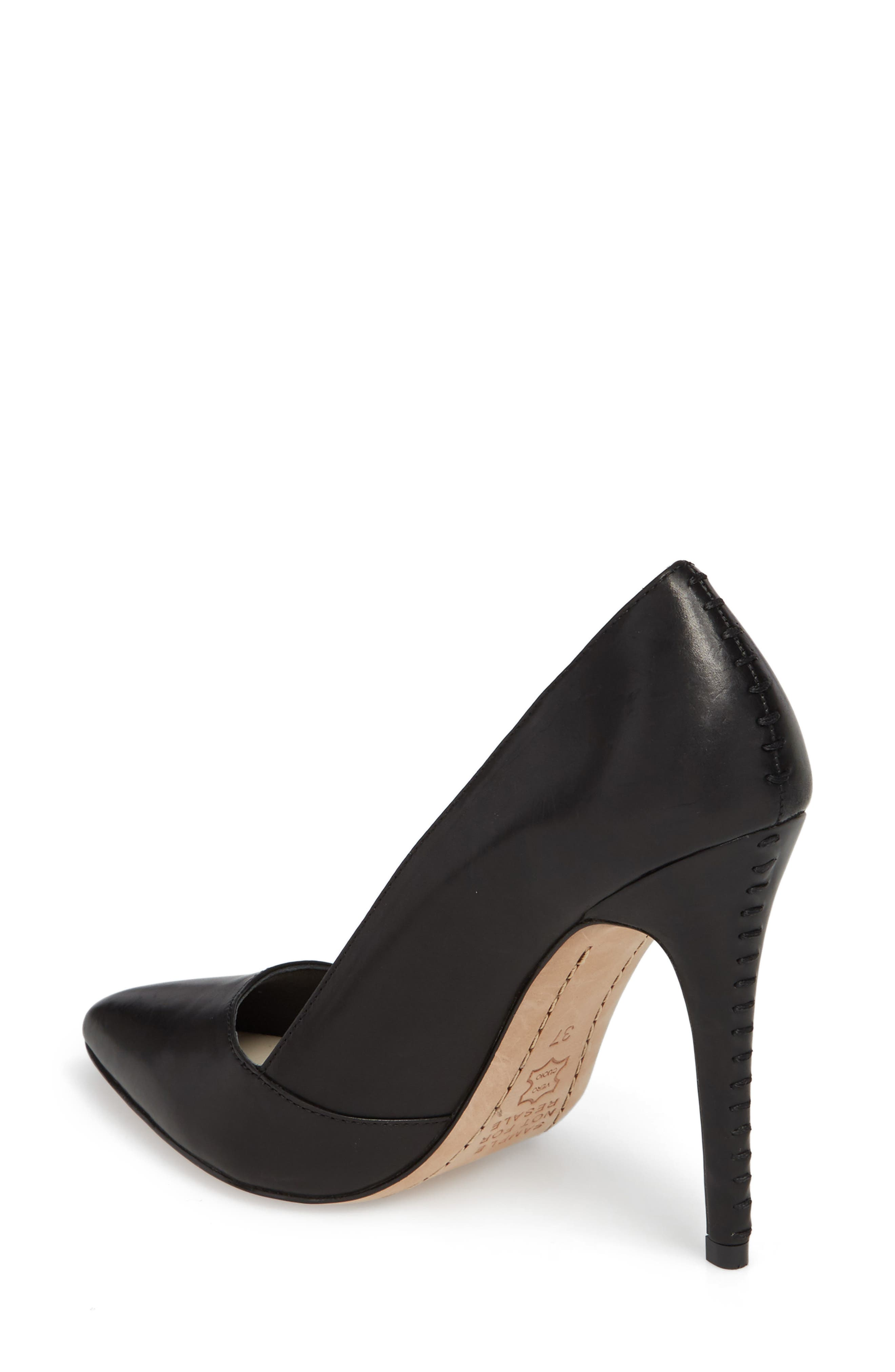 Dina 95 Whipstitch Pointy Toe Pump,                             Alternate thumbnail 2, color,                             BLACK