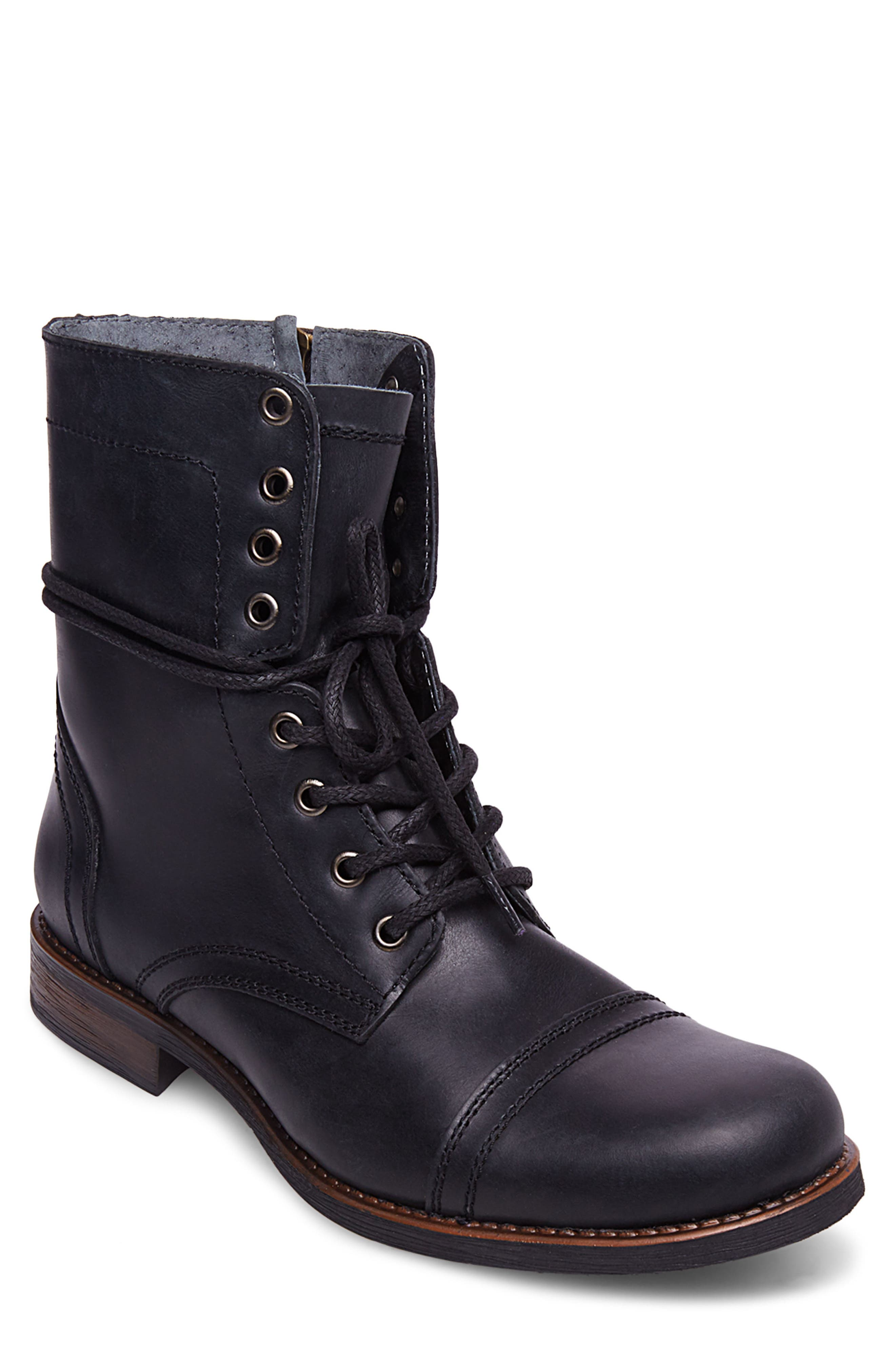 Troopah-C Cap Toe Boot,                             Main thumbnail 1, color,                             BLACK LEATHER