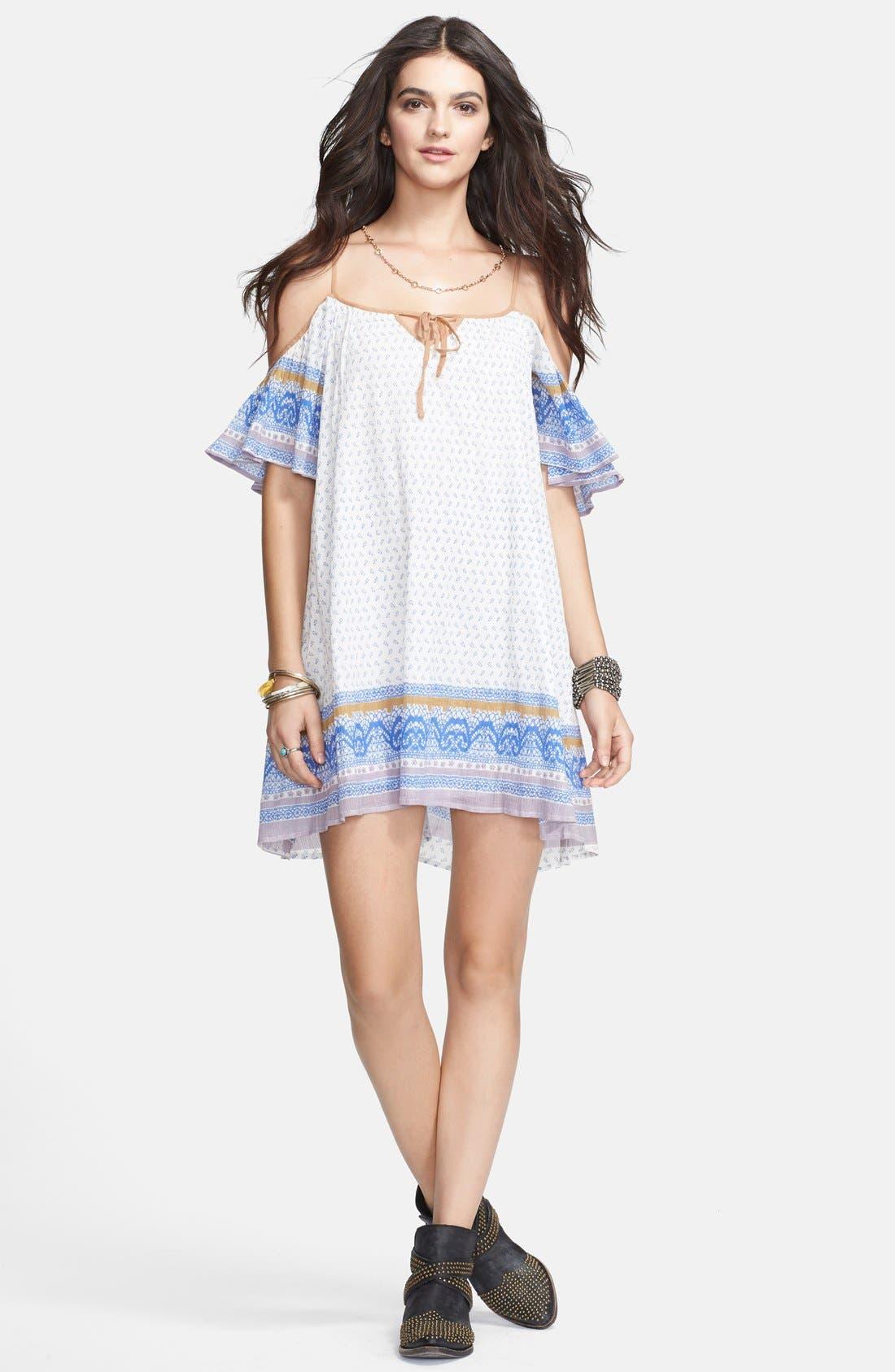 Cold Shoulder Cotton Peasant Dress,                             Alternate thumbnail 7, color,