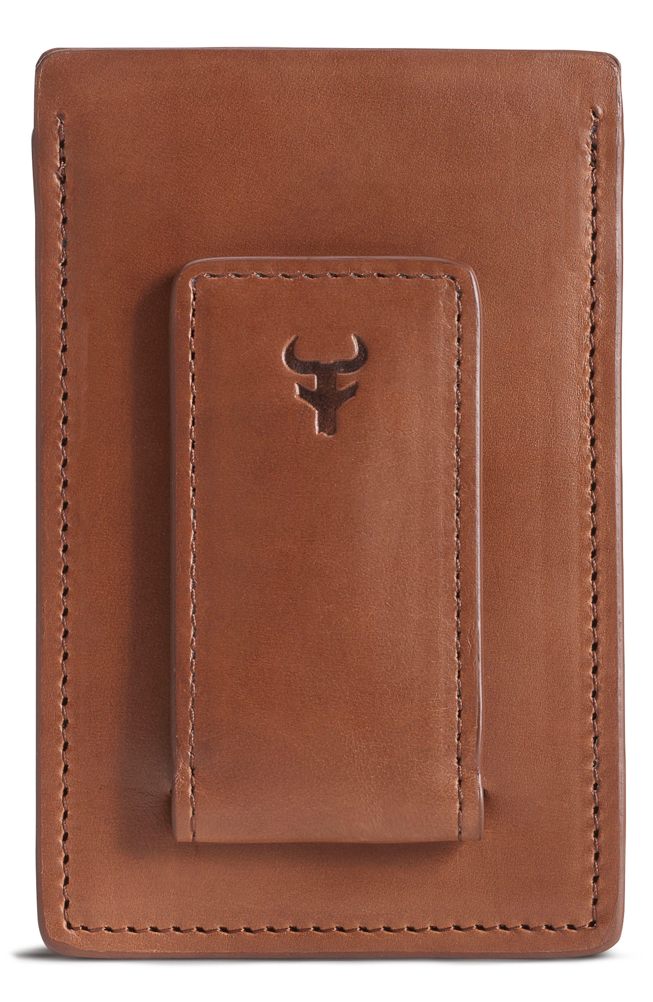 Colton Money Clip Card Case,                         Main,                         color, TAN WAXY CALFSKIN