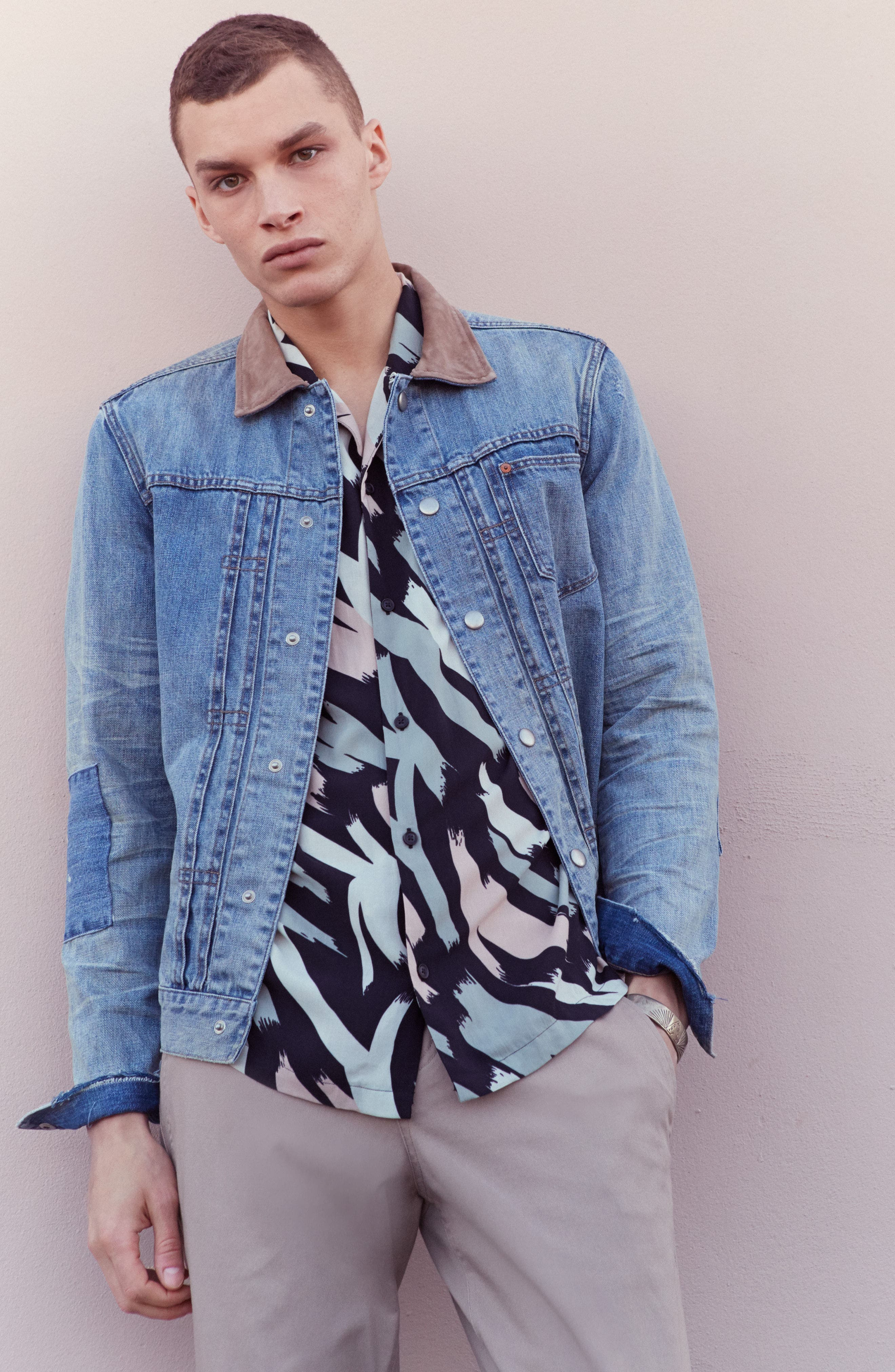 Ibanex Slim Fit Distressed Denim Jacket,                             Alternate thumbnail 5, color,                             460