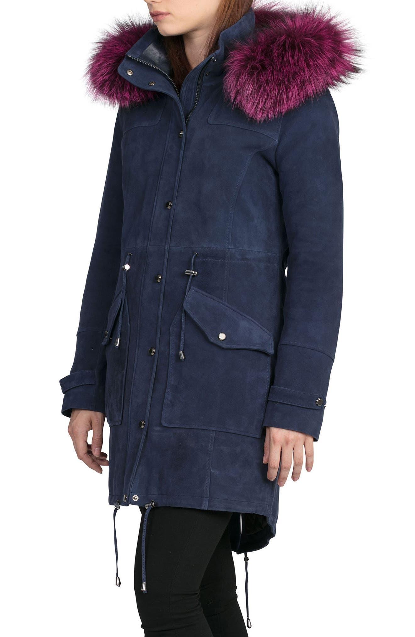 BAGATELLE.CITY The Parka Suede Coat with Genuine Fox Fur Trim,                             Alternate thumbnail 3, color,                             402
