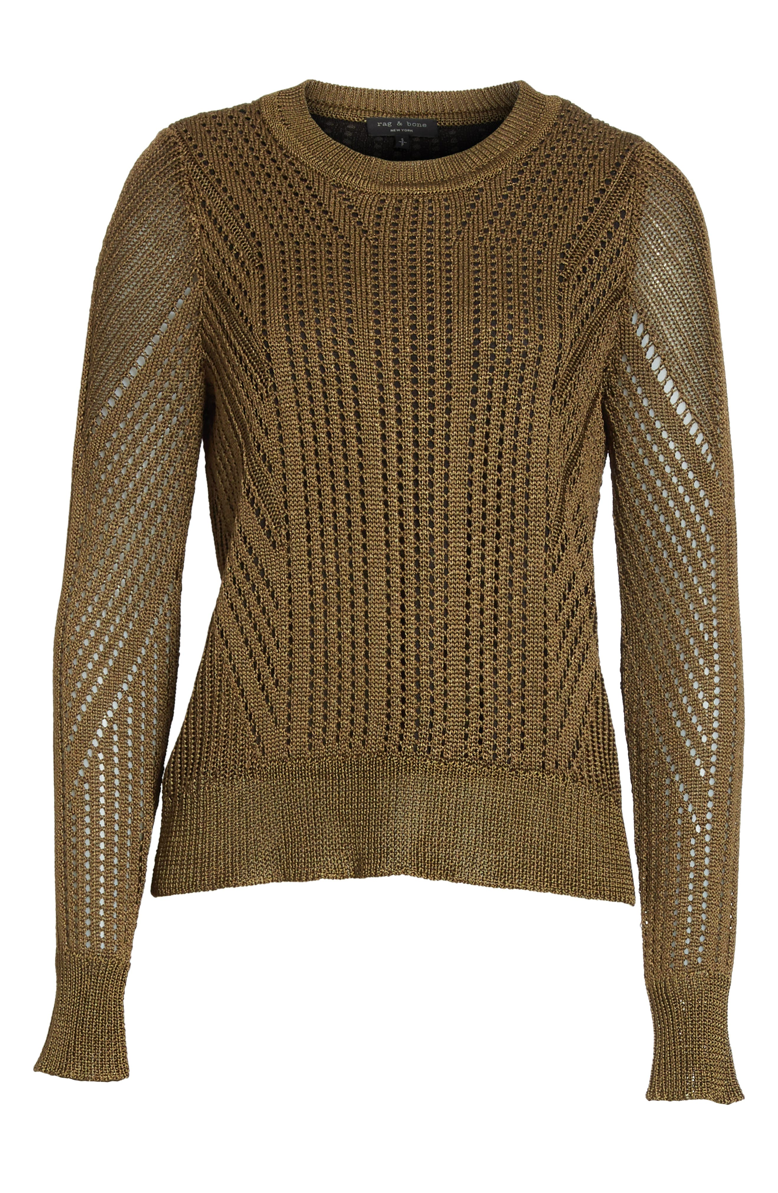 Pamela Crewneck Pointelle Sweater,                             Alternate thumbnail 12, color,