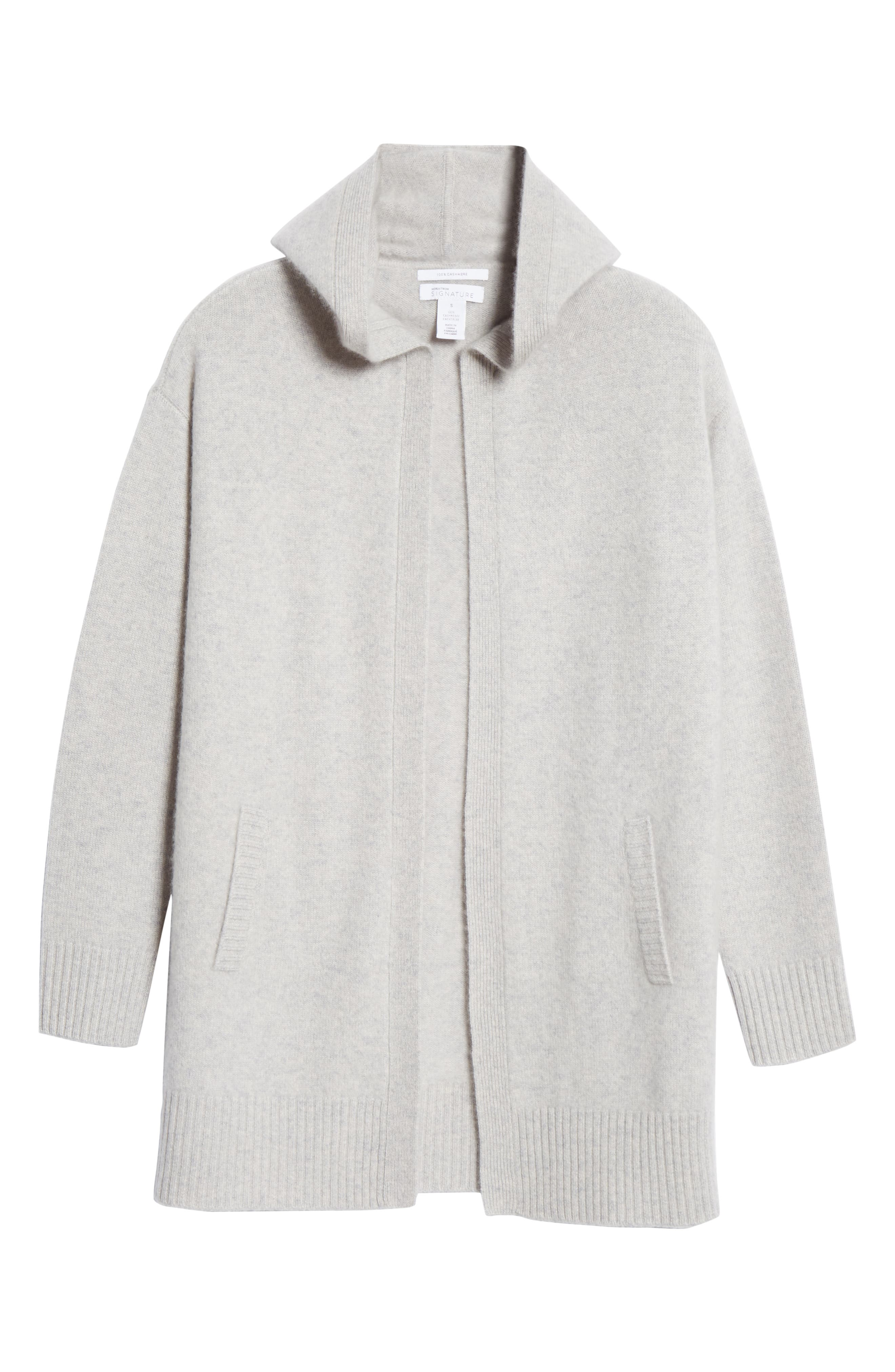 NORDSTROM SIGNATURE,                             Hooded Boiled Cashmere Cardigan,                             Alternate thumbnail 6, color,                             GREY CLAY HEATHER