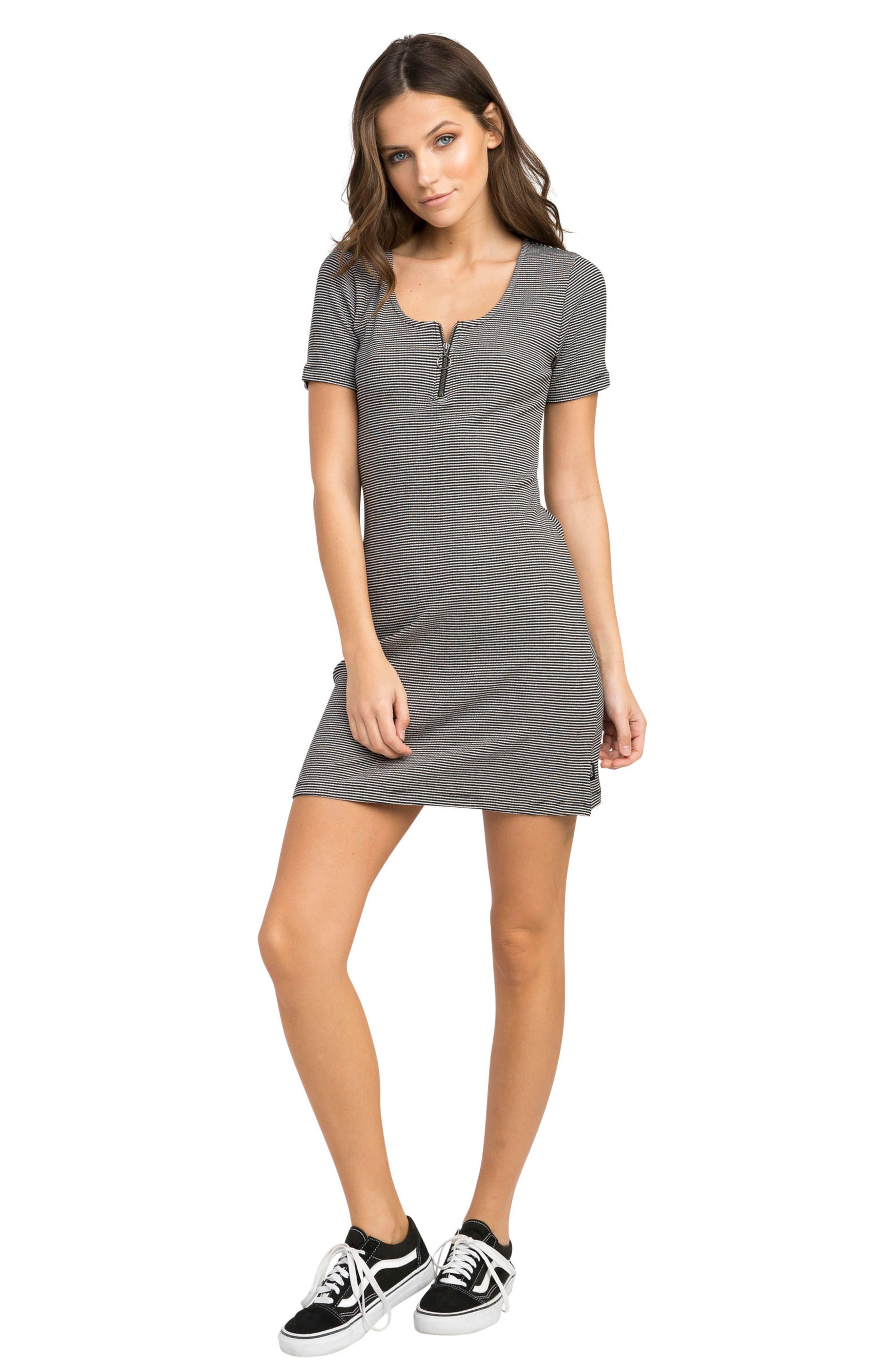 Zip It Striped Dress,                             Alternate thumbnail 4, color,                             001