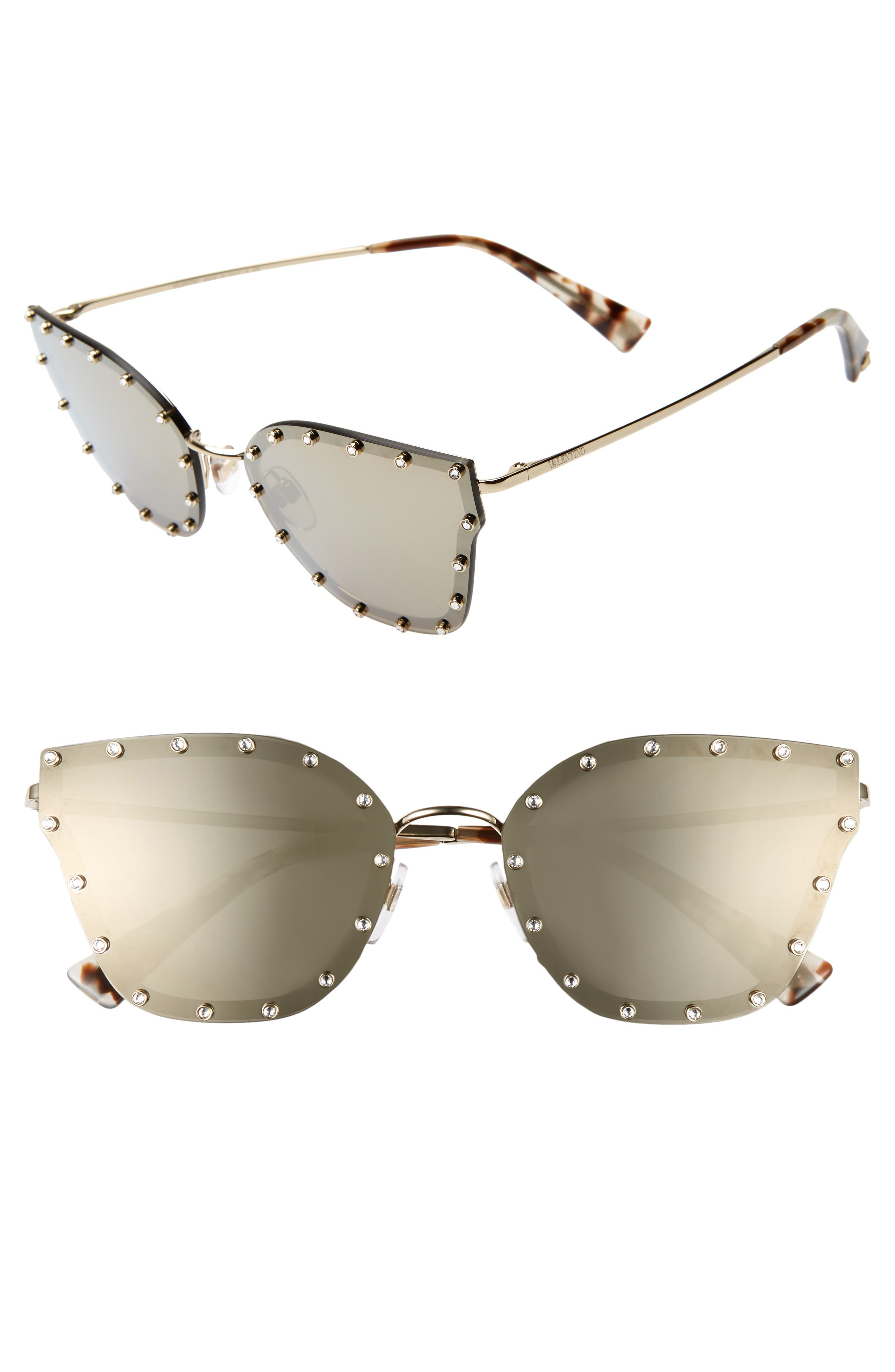 VALENTINO 59mm Cat Eye Sunglasses, Main, color, LIGHT GOLD/ GOLD