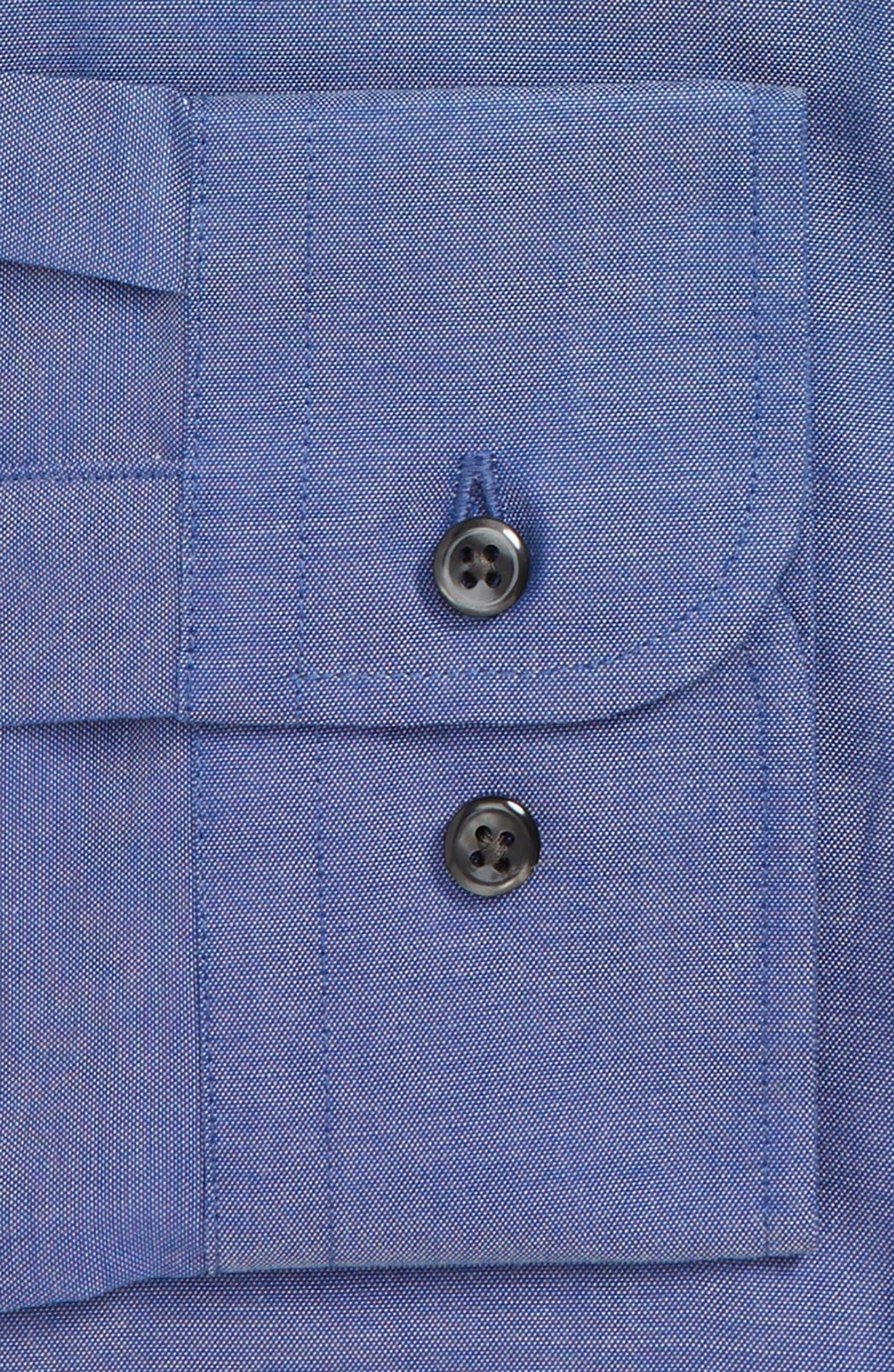 Extra Trim Fit Non-Iron Solid Dress Shirt,                             Alternate thumbnail 6, color,                             BLUE DENIM