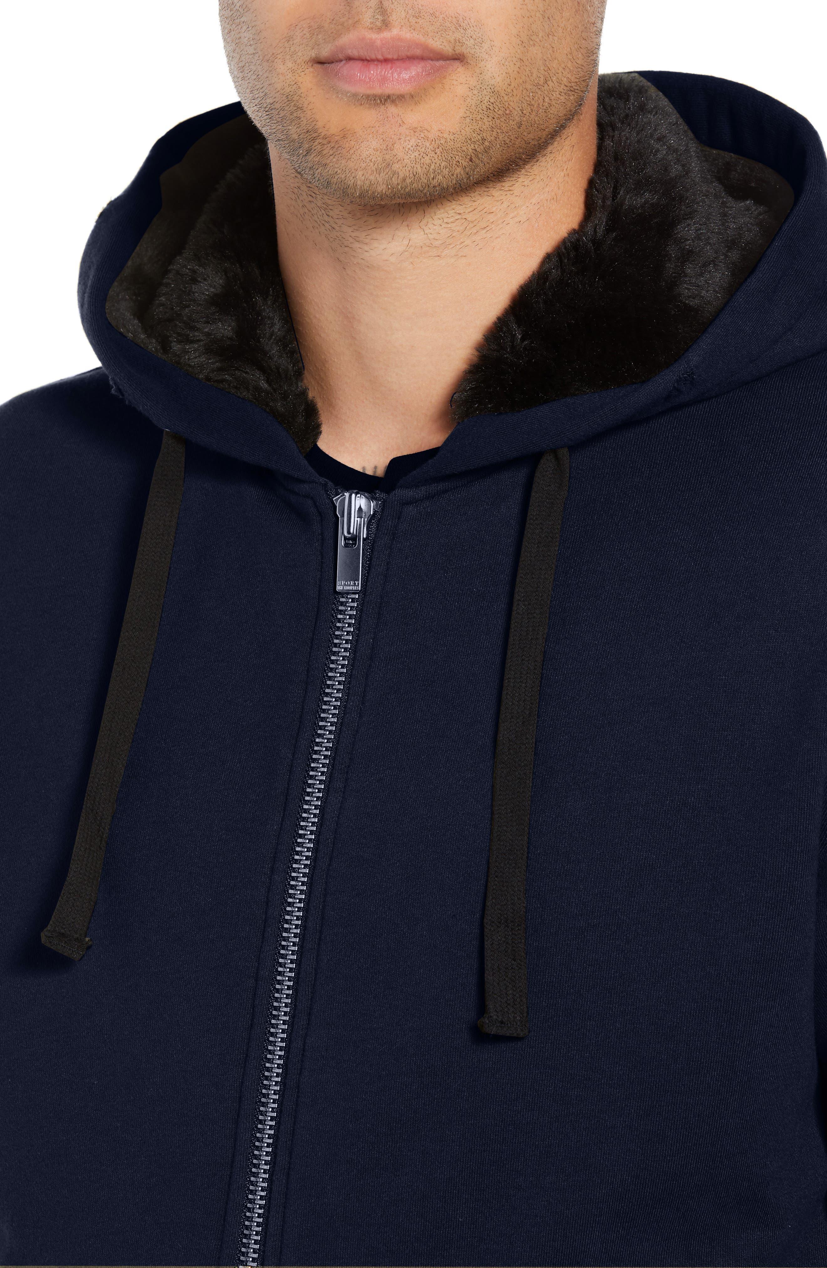Destroyed Regular Fit Zip Hoodie with Faux Fur Trim,                             Alternate thumbnail 4, color,                             NAVY