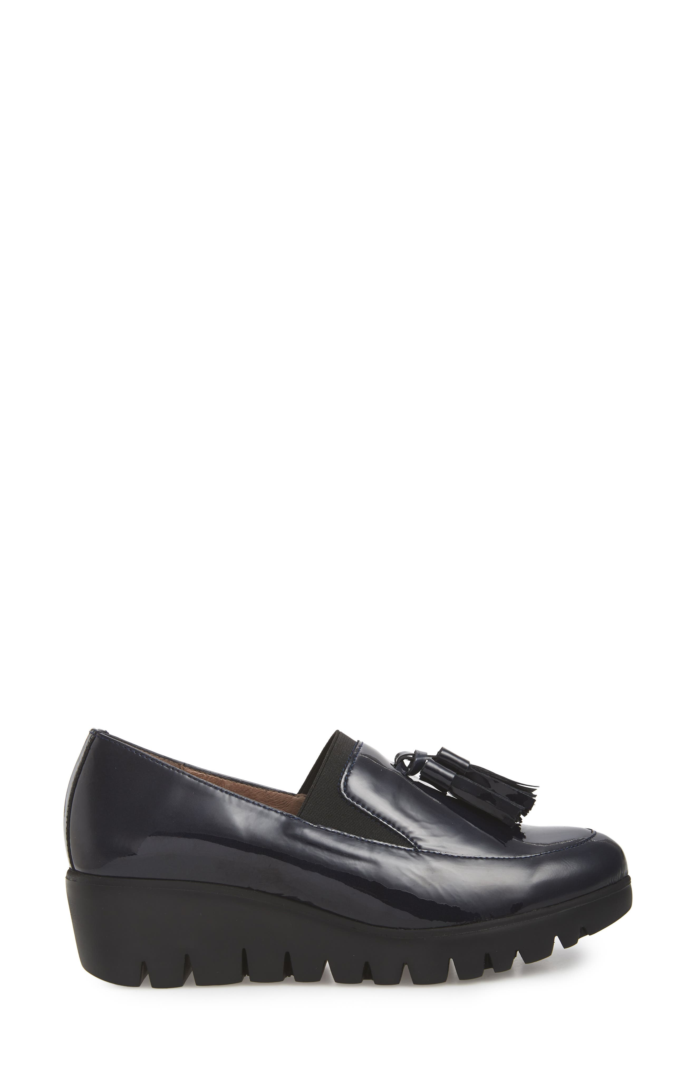 Talla Loafer Wedge,                             Alternate thumbnail 3, color,                             NAVY PATENT LEATHER
