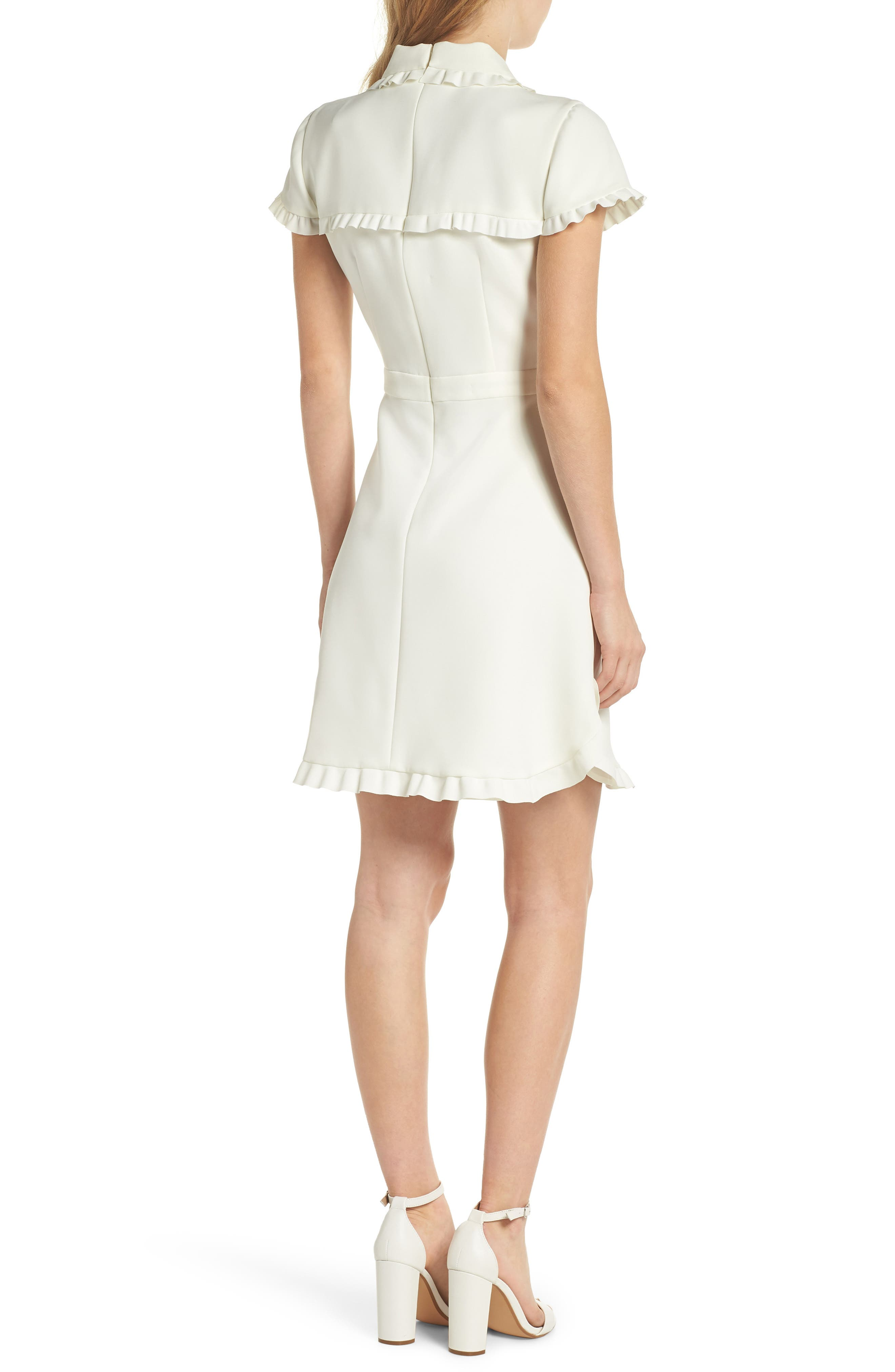 Emma Ruffle Crepe Dress,                             Alternate thumbnail 2, color,                             WHITE
